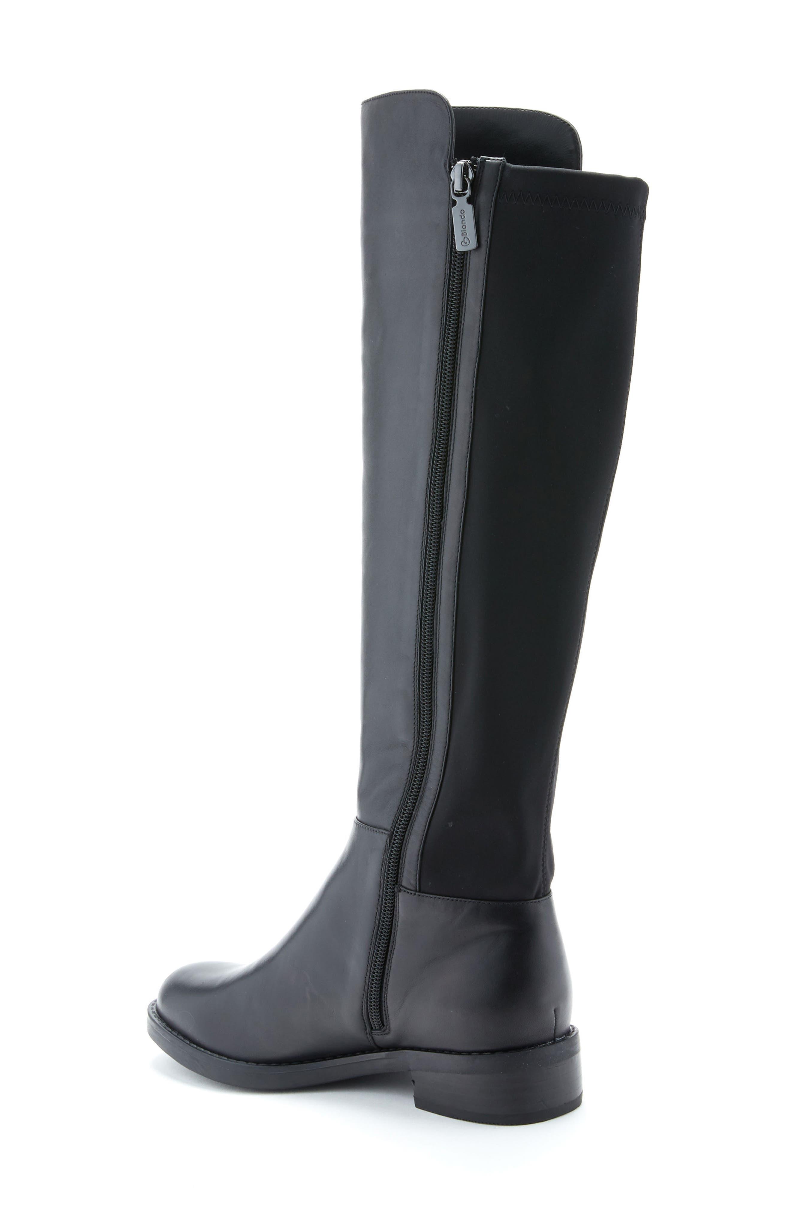 Ellie Waterproof Knee High Riding Boot,                             Alternate thumbnail 2, color,                             BLACK LEATHER