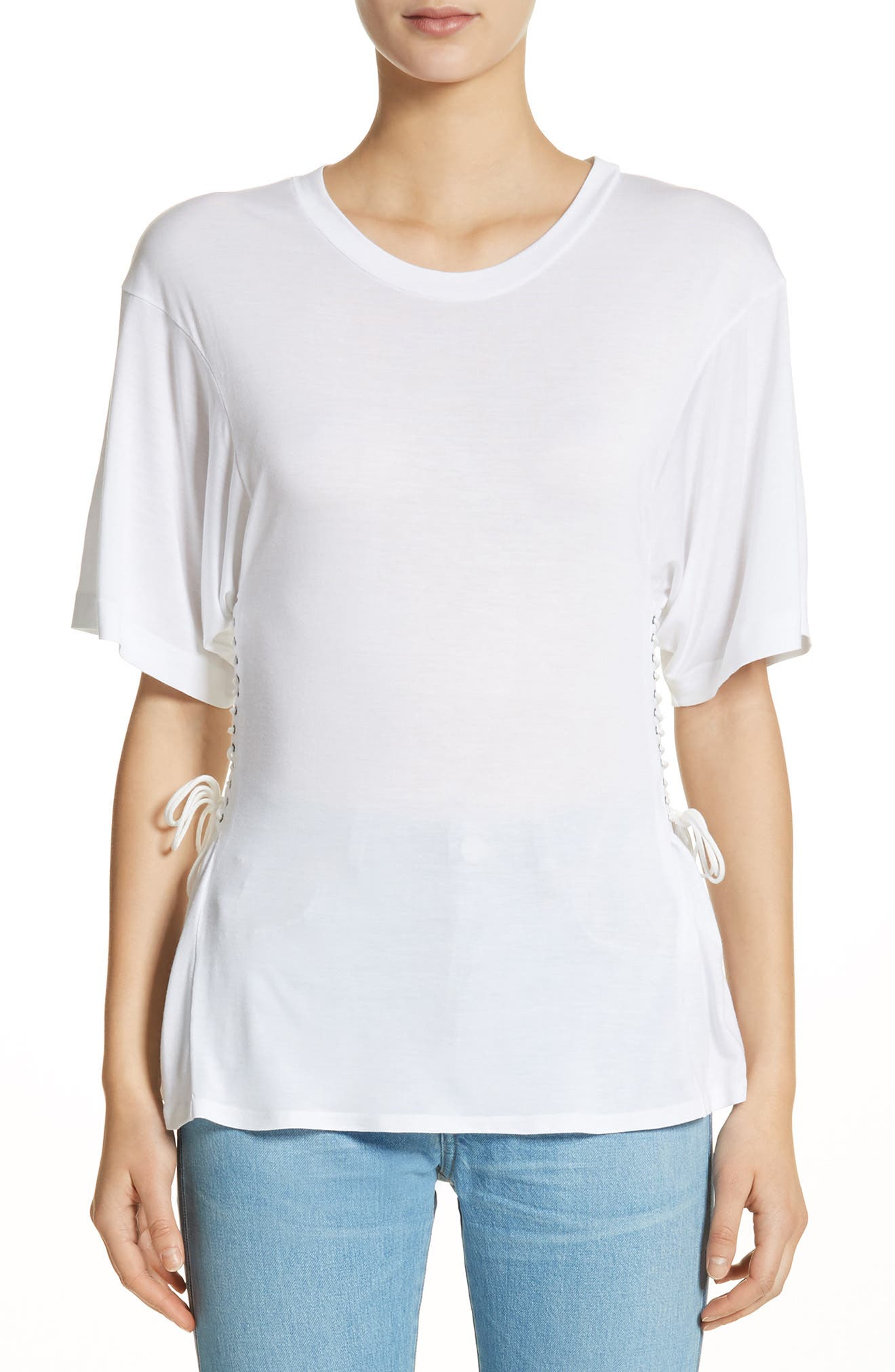 Axel Lace-Up Tee,                         Main,                         color, WHITE