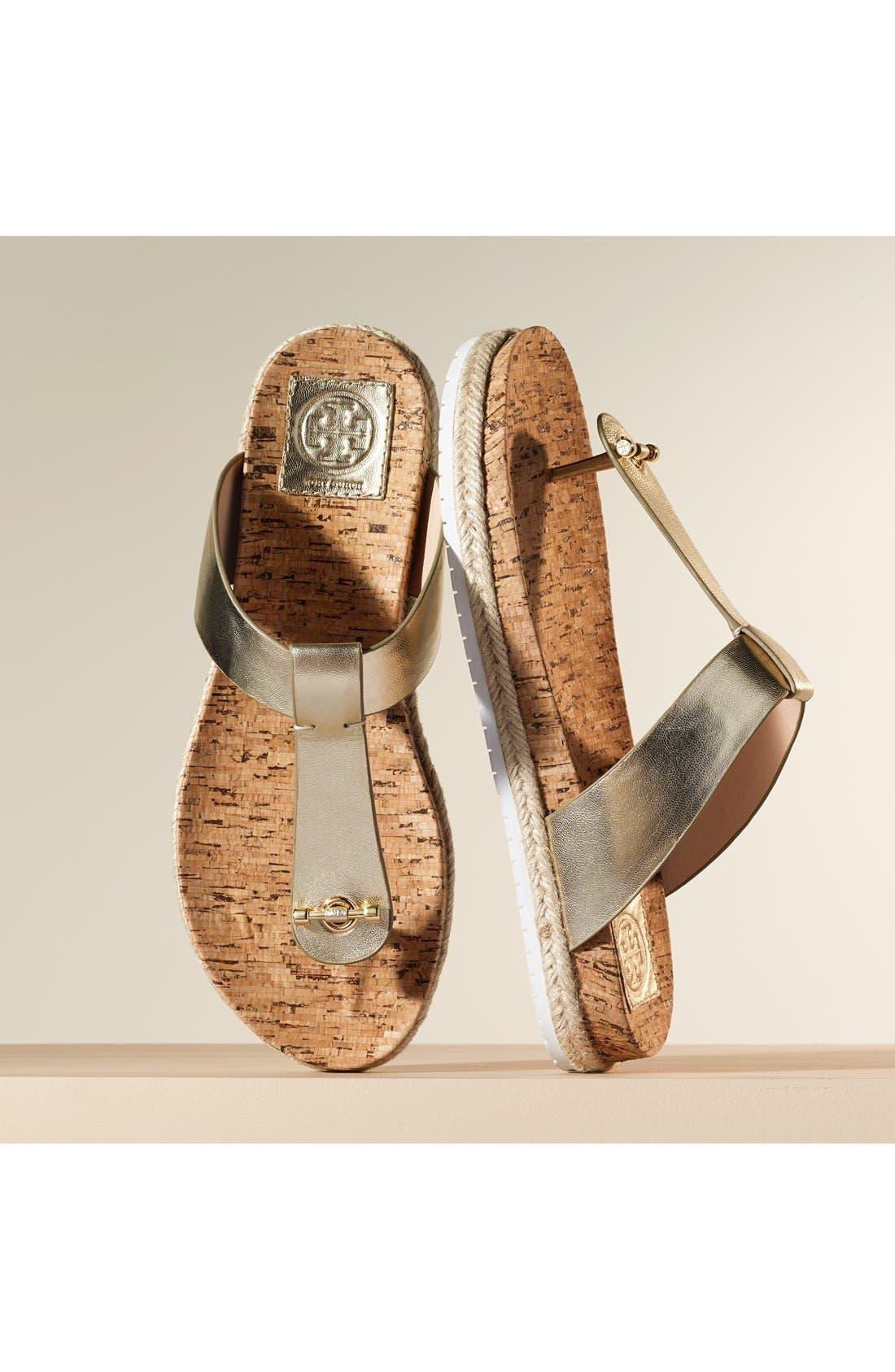 Leather & Cork Thong Sandal,                             Alternate thumbnail 5, color,                             462