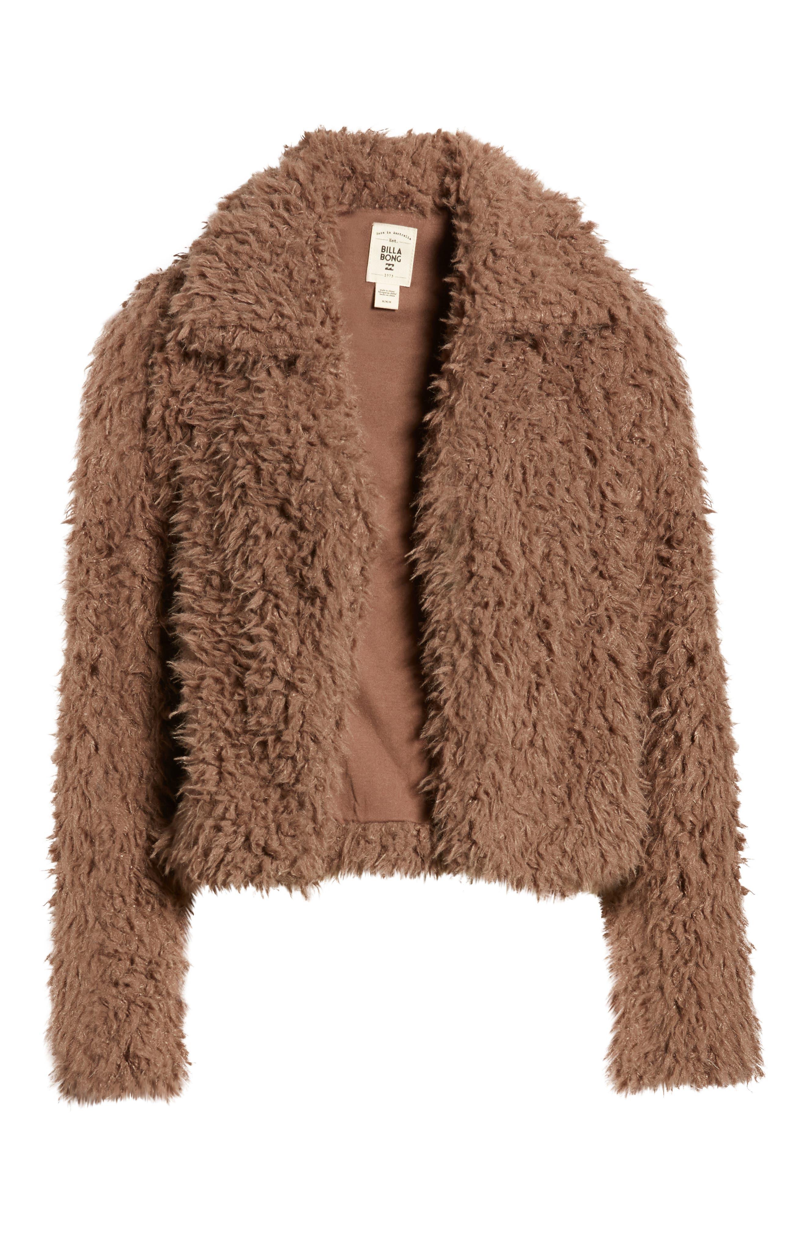 Fur Keeps Faux Fur Crop Jacket,                             Alternate thumbnail 3, color,                             COYOTE