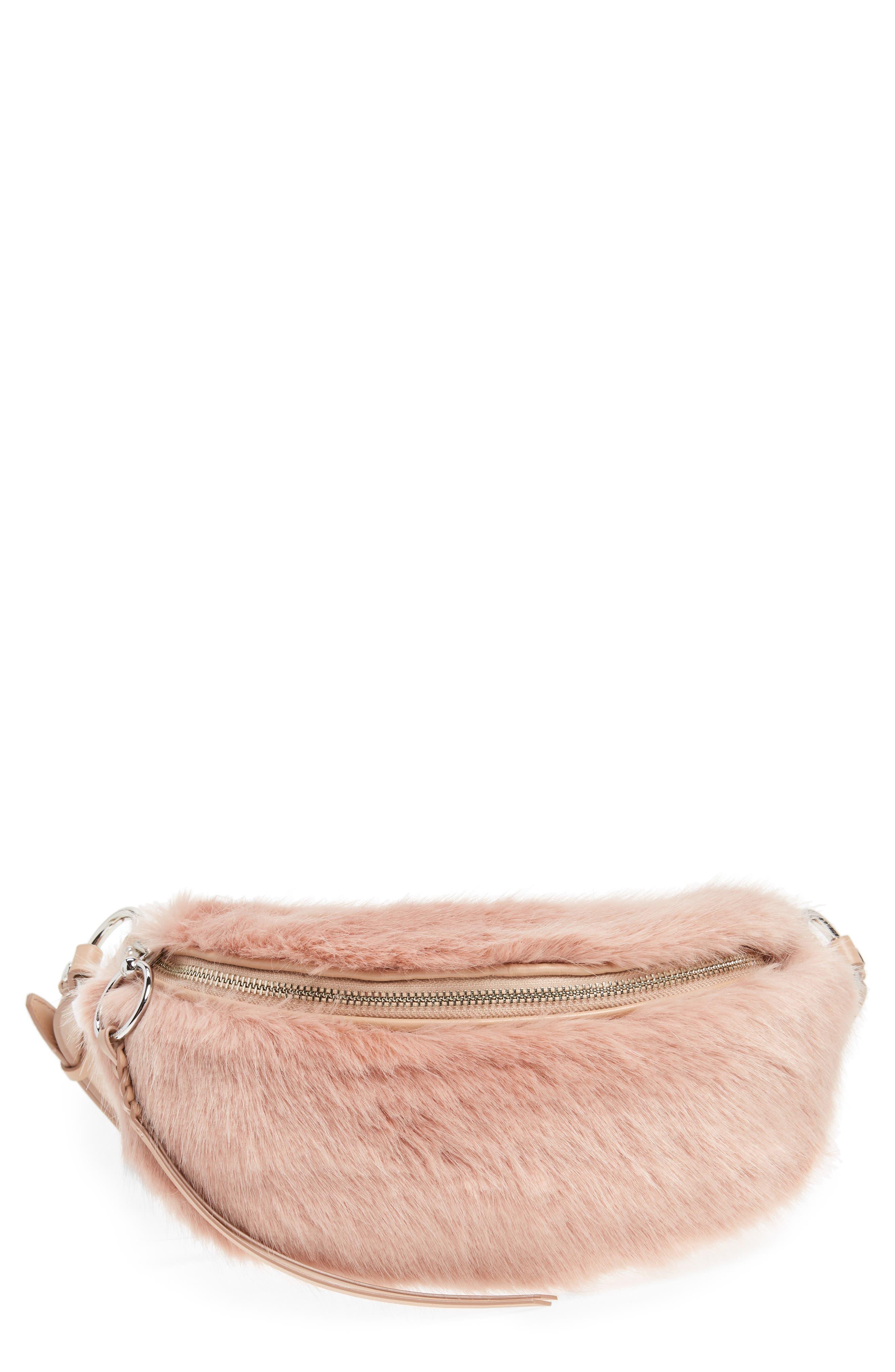 REBECCA MINKOFF Faux Fur Belt Bag, Main, color, 250