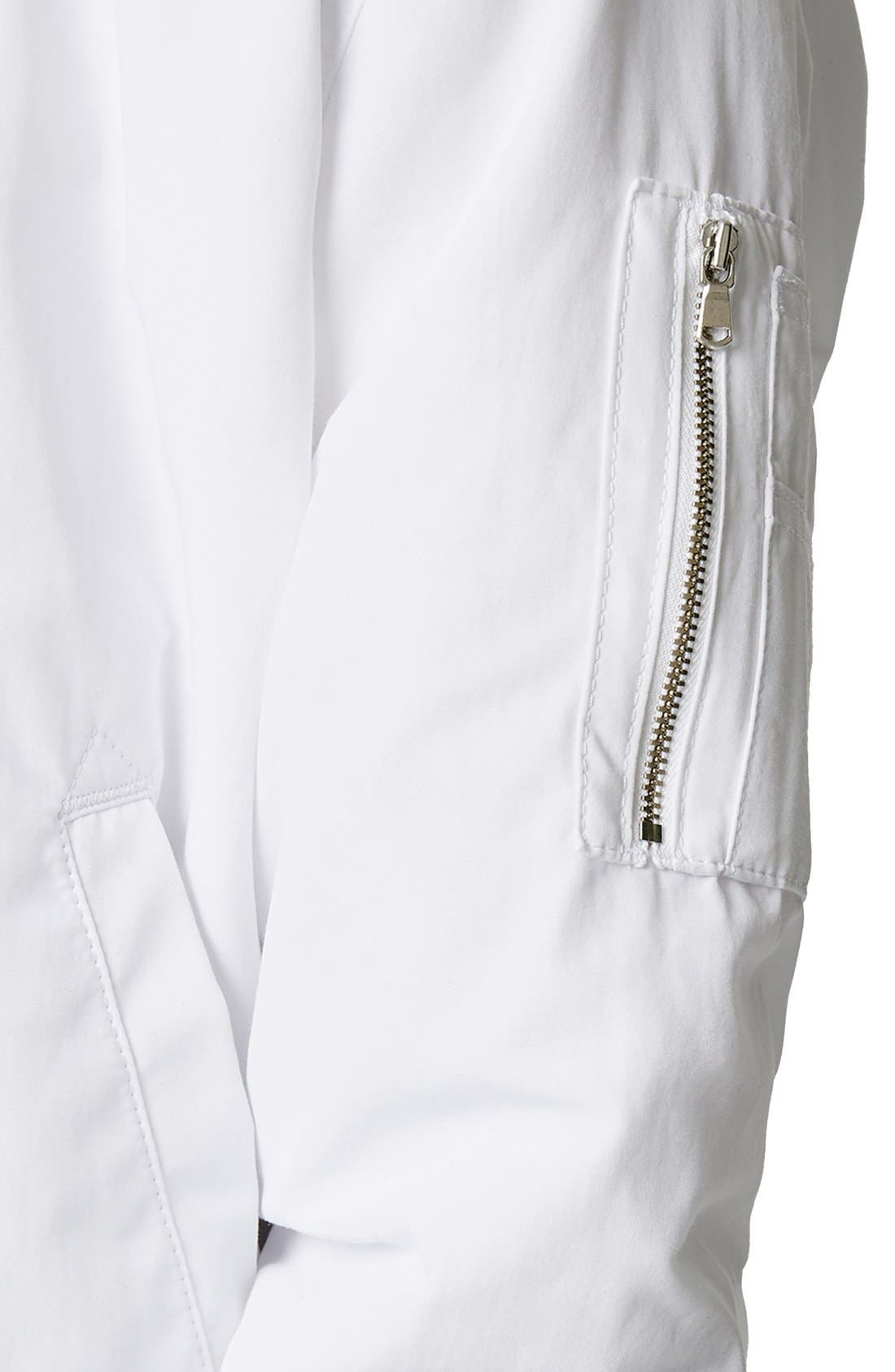 AAA Collection Ruched Back Bomber Jacket,                             Alternate thumbnail 2, color,                             100