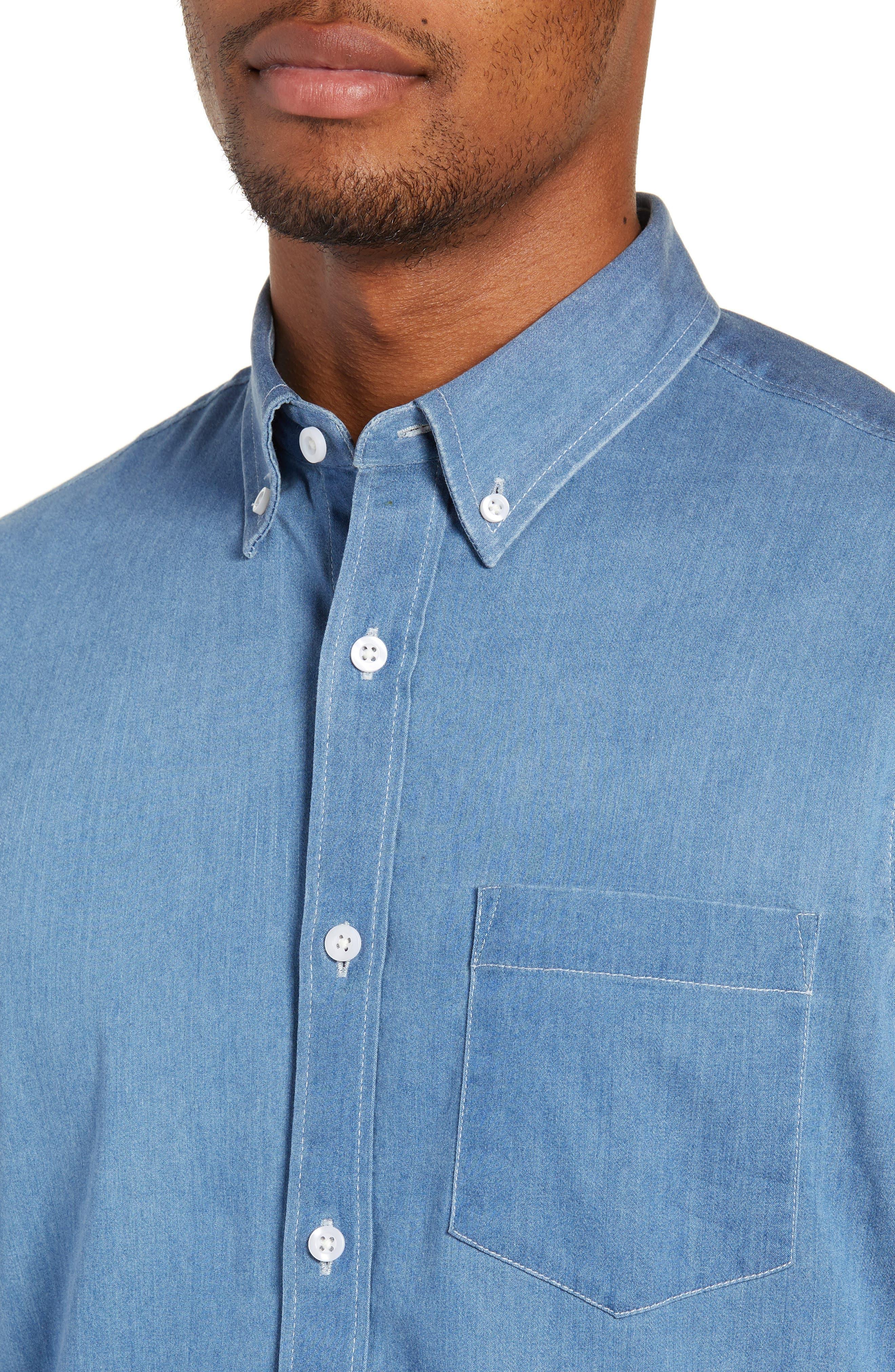 Slim Fit Chambray Sport Shirt,                             Alternate thumbnail 2, color,                             BLUE HEAVEN CHAMBRAY