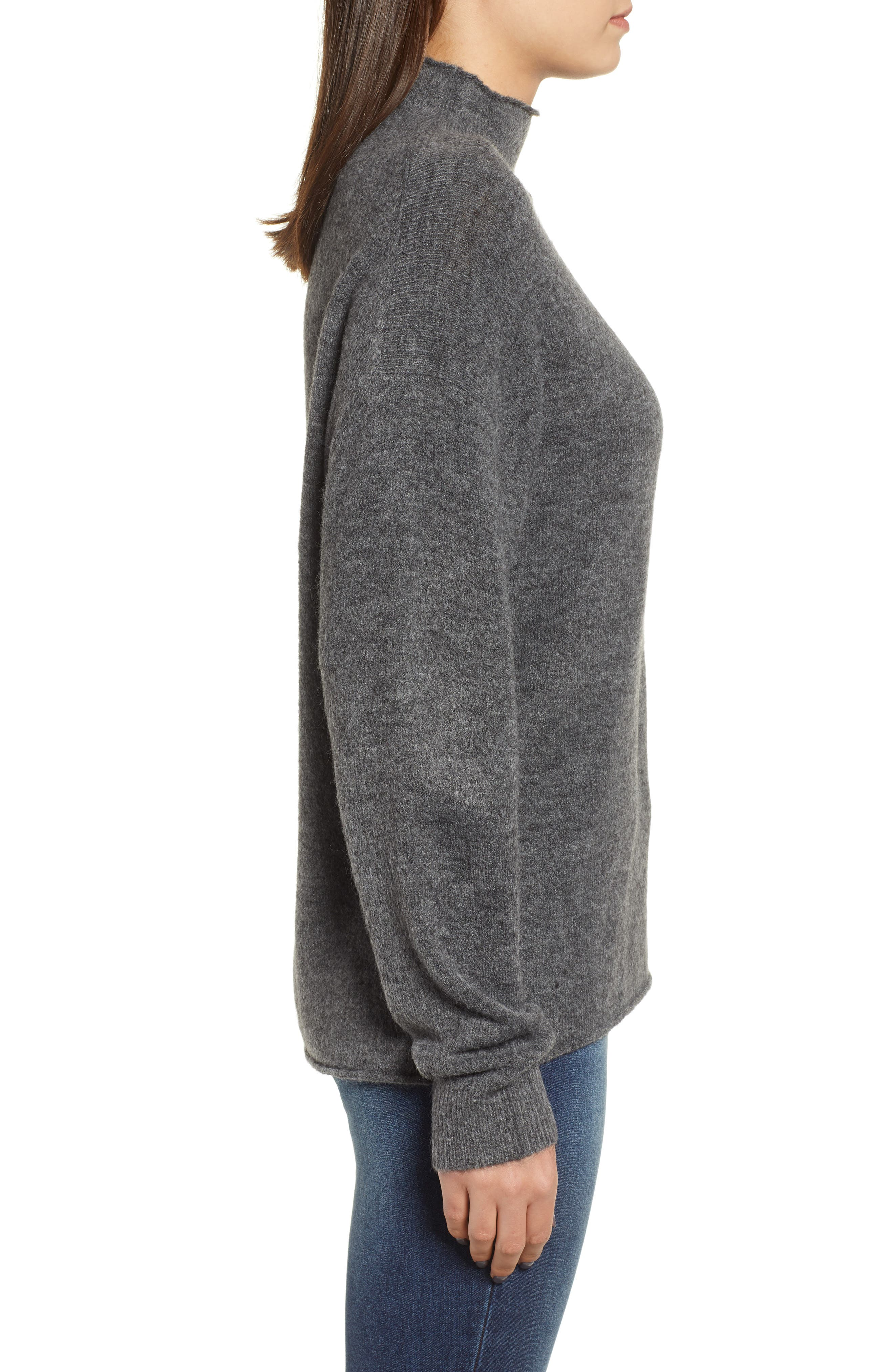 Cozy Mock Neck Sweater,                             Alternate thumbnail 3, color,                             GREY MEDIUM CHARCOAL HEATHER