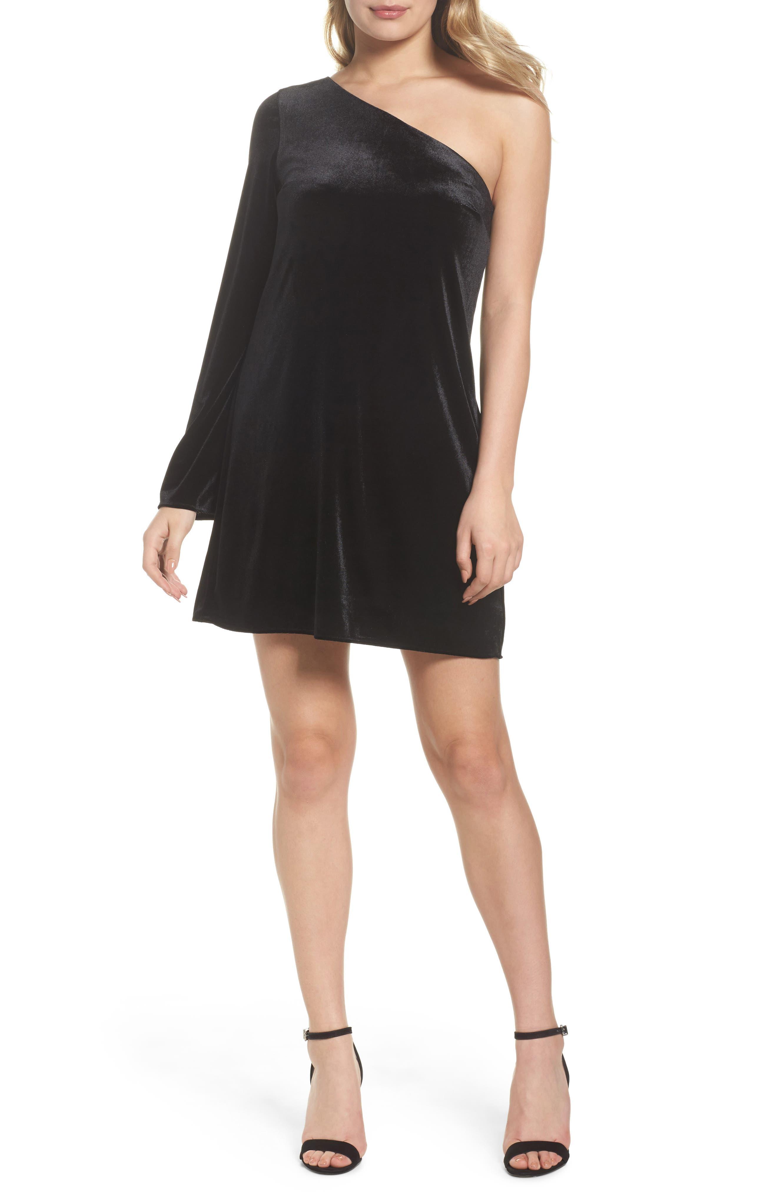 Aurore One-Shoulder Velvet Dress,                         Main,                         color, 001