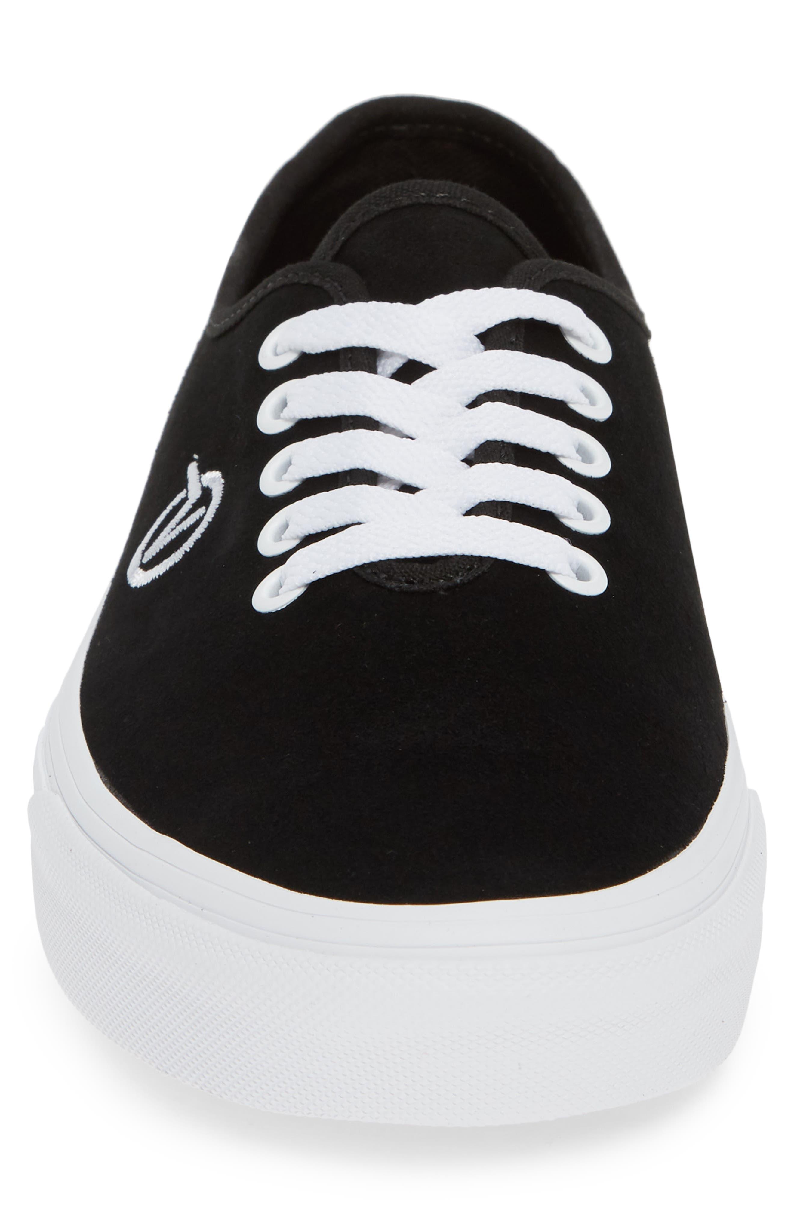 Authentic One-Piece Sneaker,                             Alternate thumbnail 4, color,                             BLACK/ SUEDE