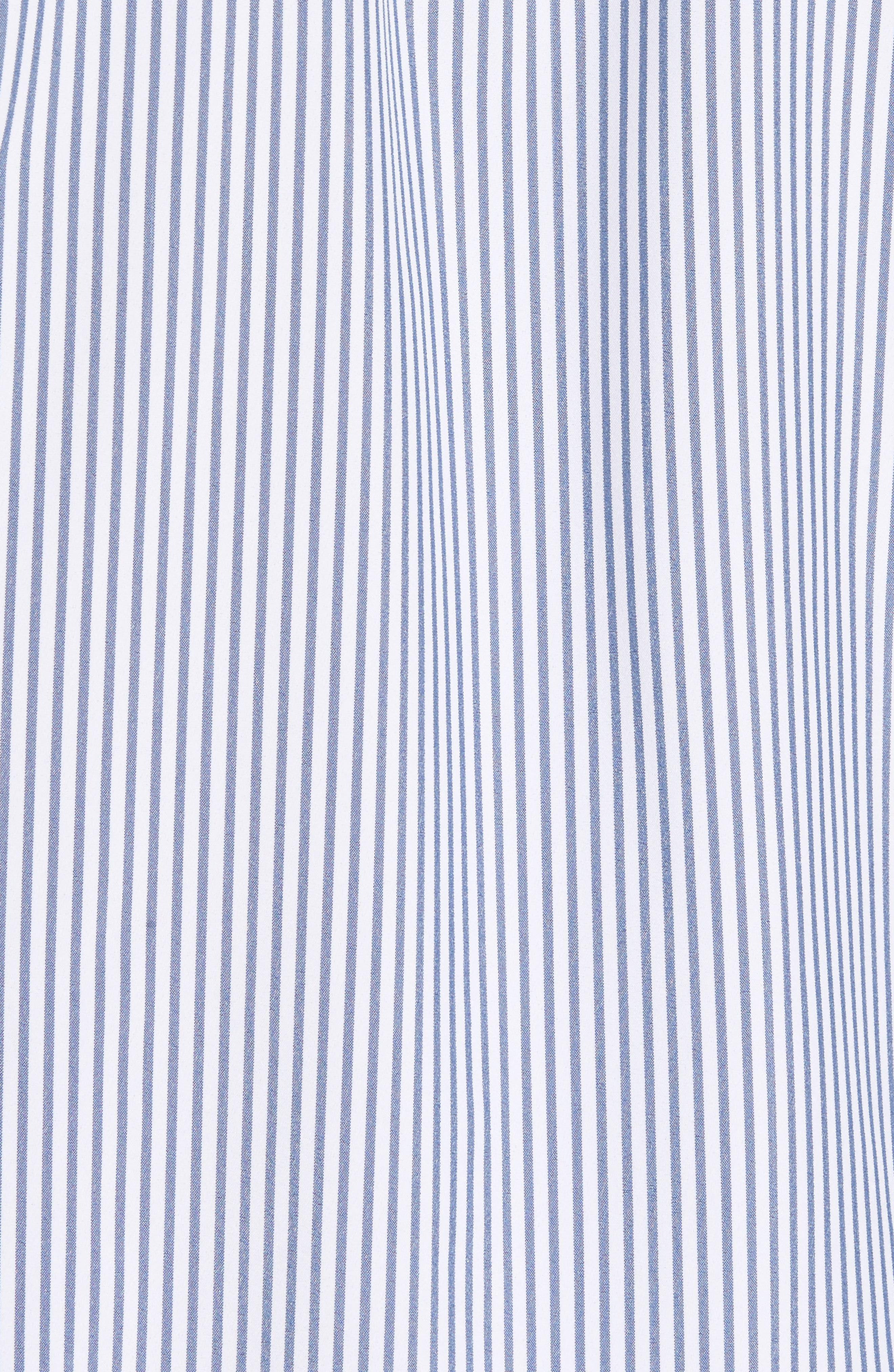 MIZZEN+MAIN,                             Blue Label Wilkes Stripe Performance Sport Shirt,                             Alternate thumbnail 5, color,                             BLUE