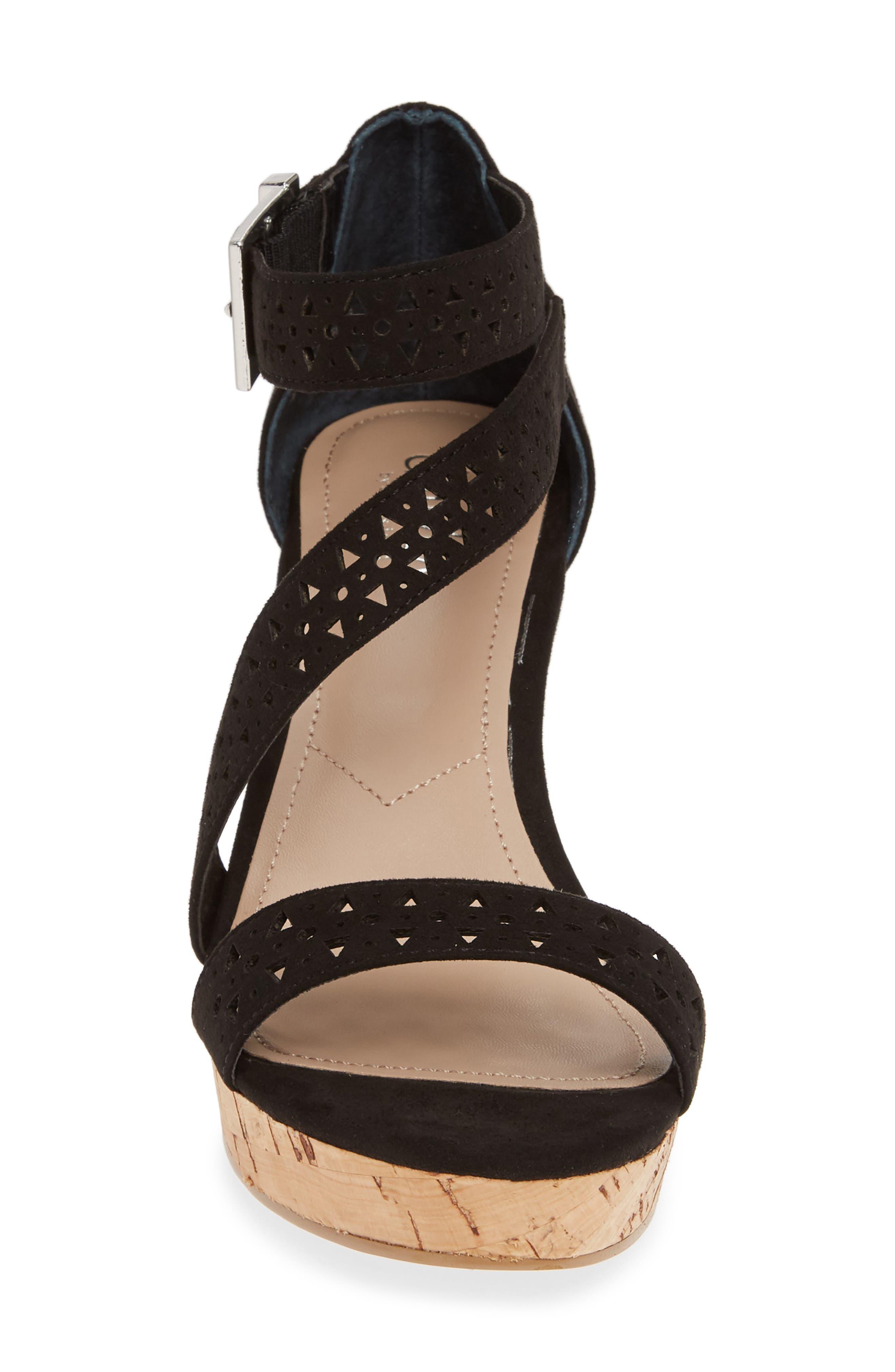 Landon Perforated Wedge Sandal,                             Alternate thumbnail 4, color,                             BLACK FABRIC