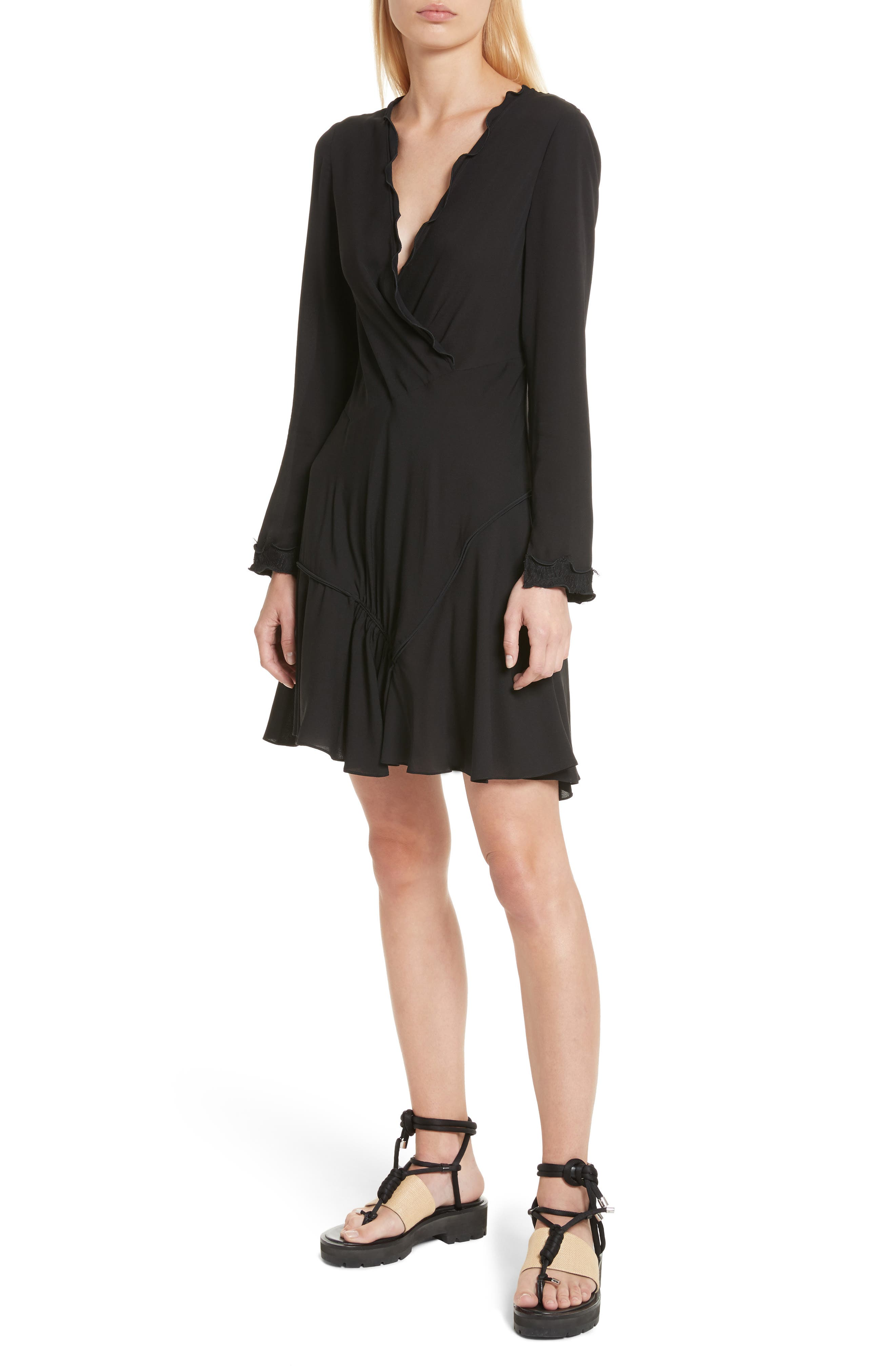 Ruffle Edge Silk Dress,                         Main,                         color, 001