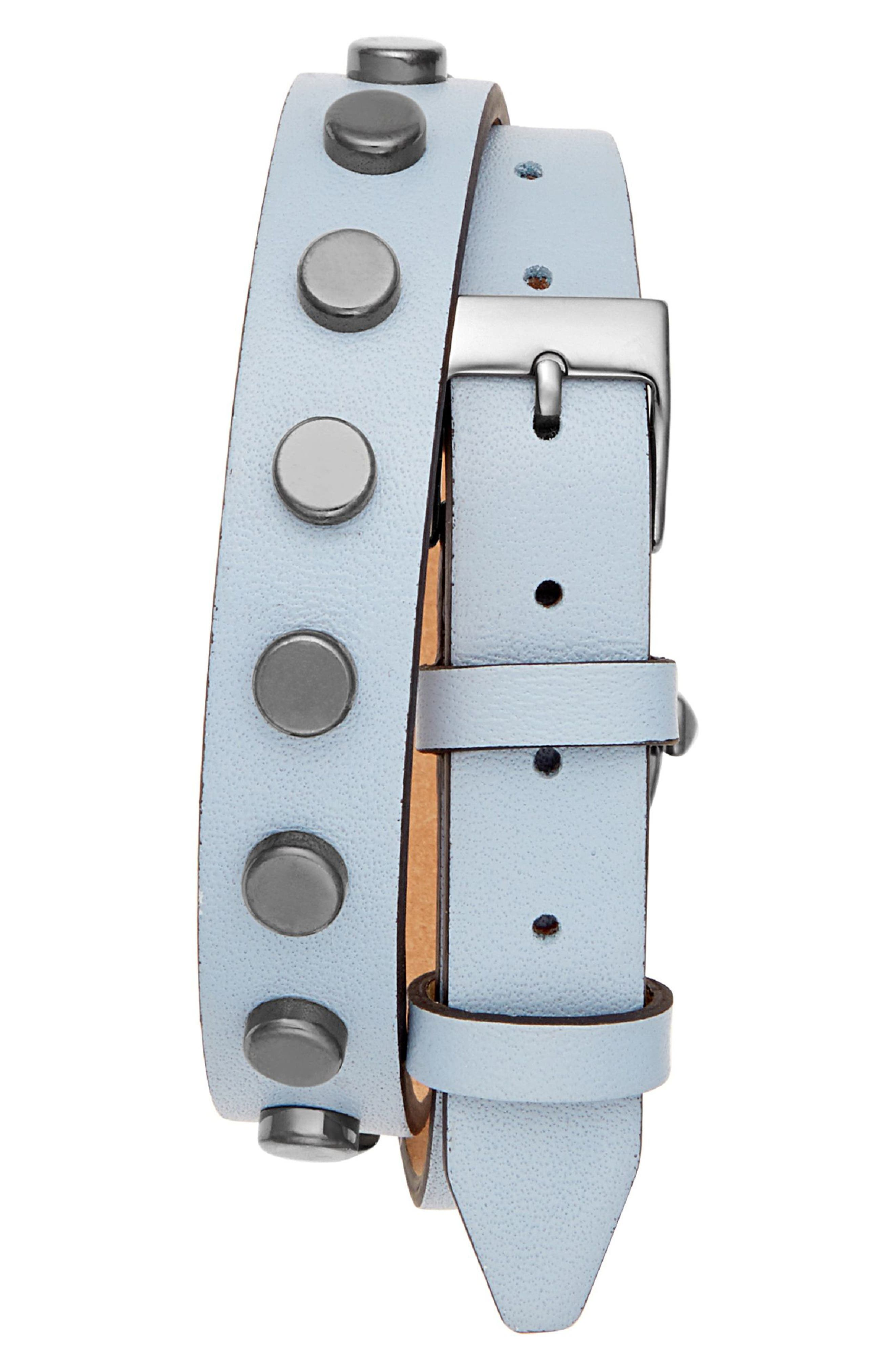 REBECCA MINKOFF,                             BFFLS Double Wrap Leather Strap Watch, 25mm,                             Alternate thumbnail 2, color,                             400