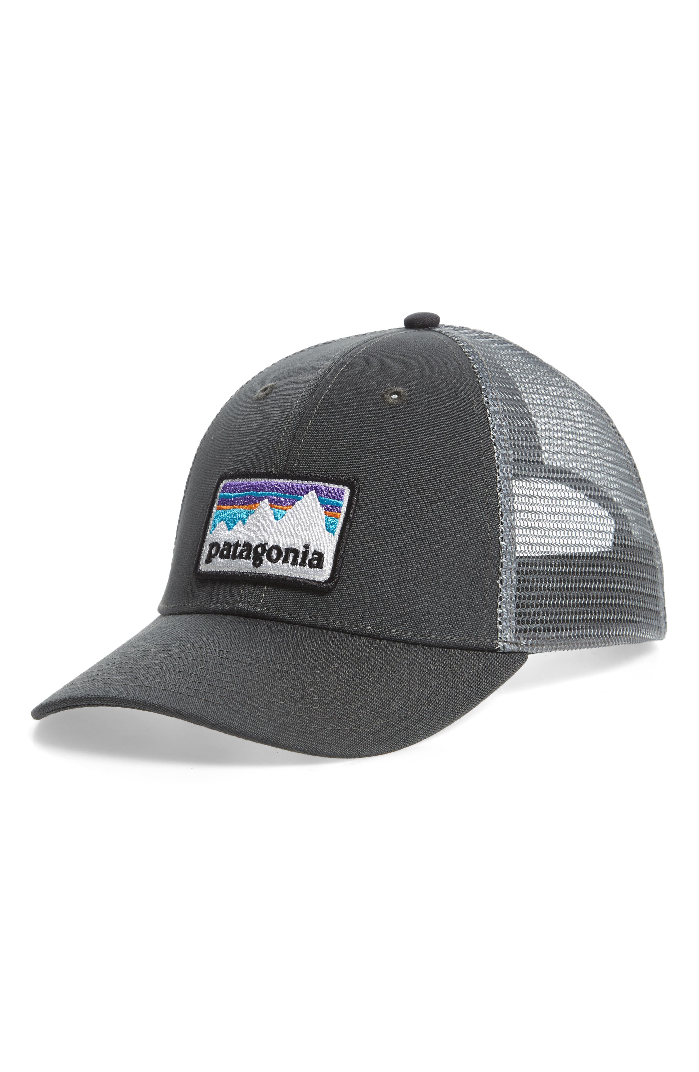 Shop Sticker Trucker Hat,                             Main thumbnail 1, color,                             FORGE GREY