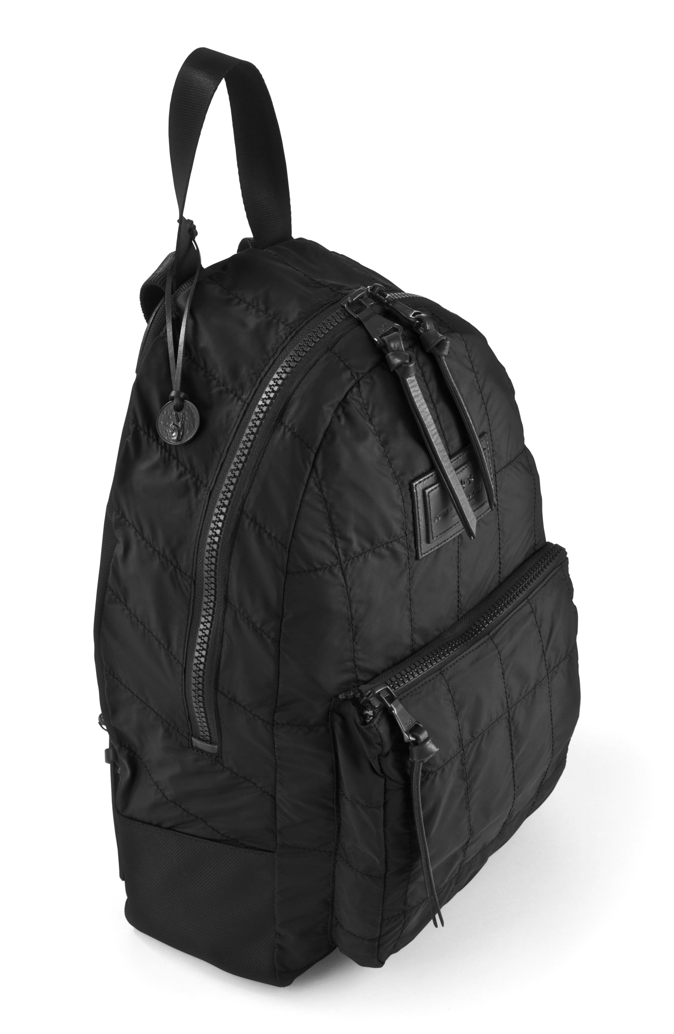 Quilted Nylon Backpack,                             Alternate thumbnail 4, color,                             001
