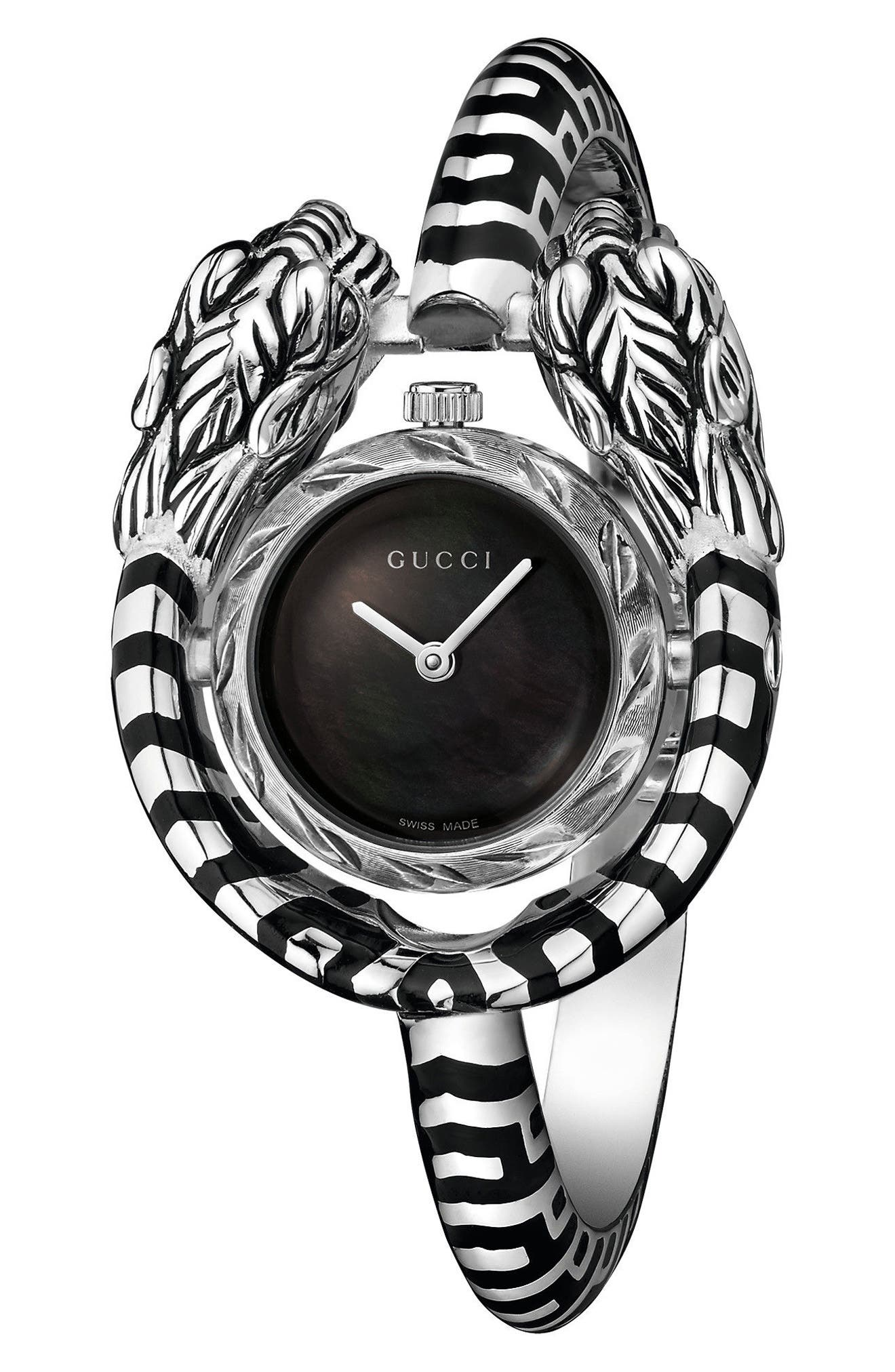 Dionysus Bangle Watch, 23mm,                         Main,                         color, SILVER/ BLACK MOP/ SILVER