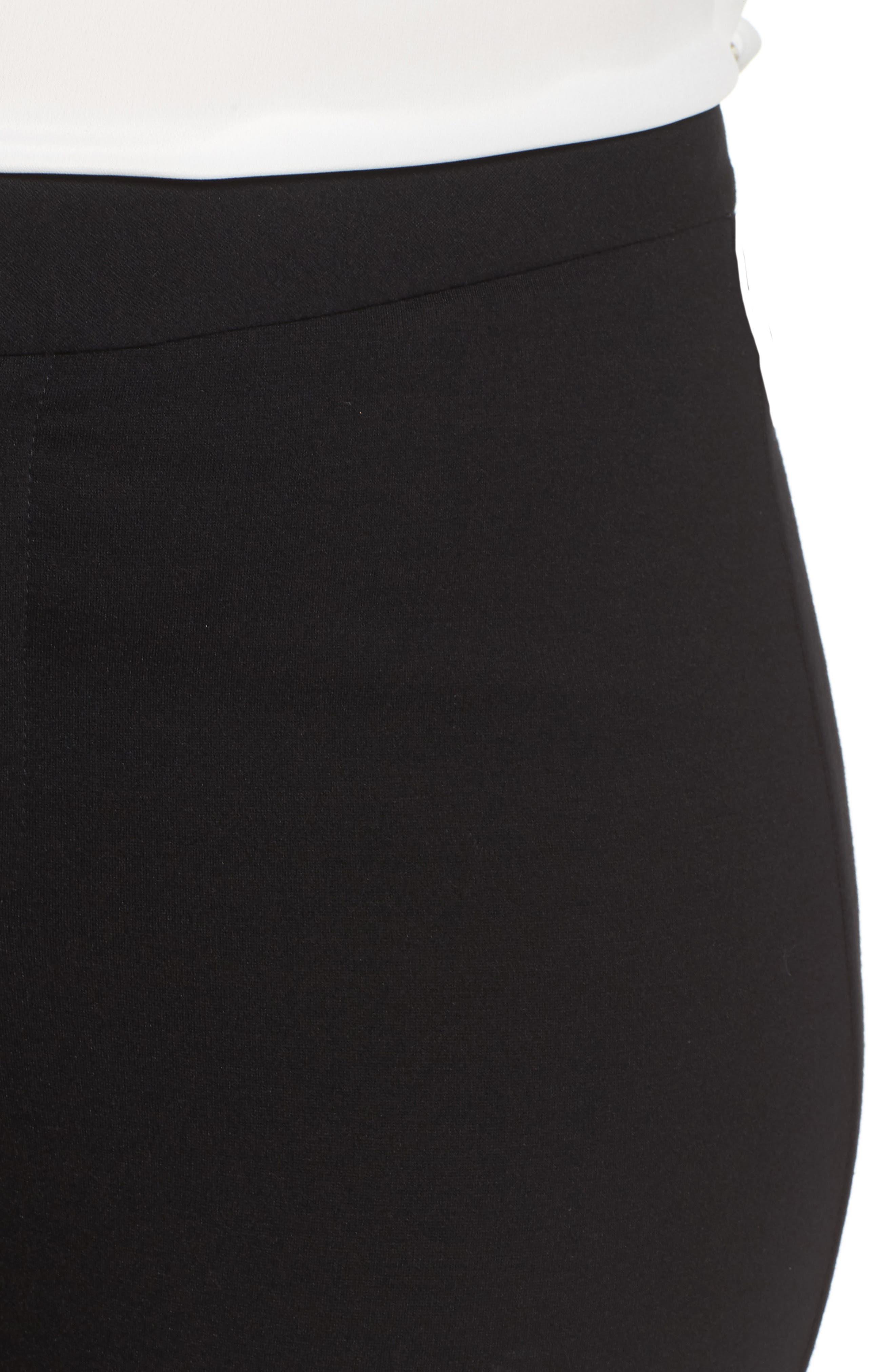 Stretch Knit Straight Leg Trousers,                             Alternate thumbnail 5, color,                             BLACK