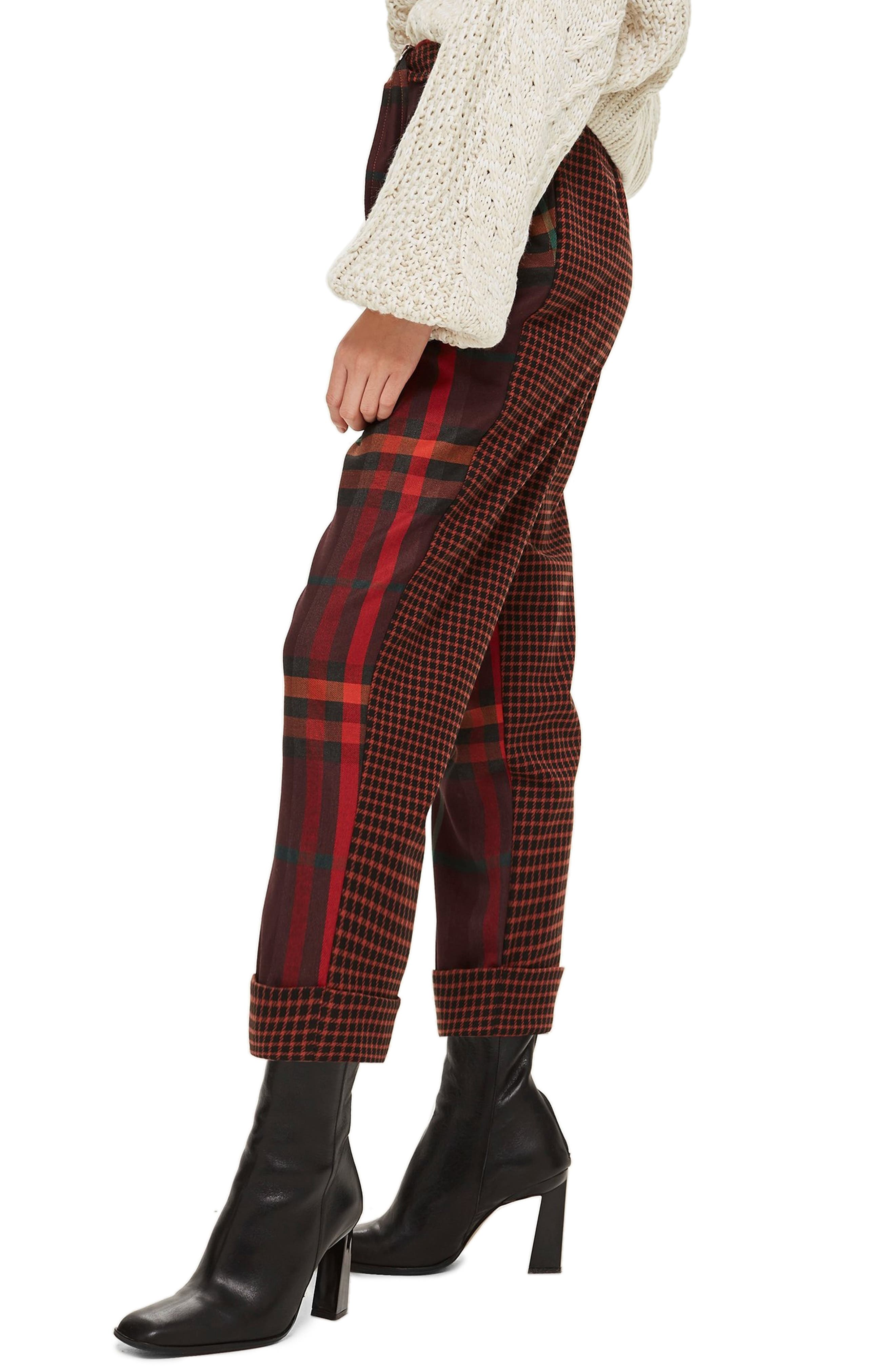 Belted Mixed Check Peg Trousers,                             Alternate thumbnail 3, color,                             RED MULTI