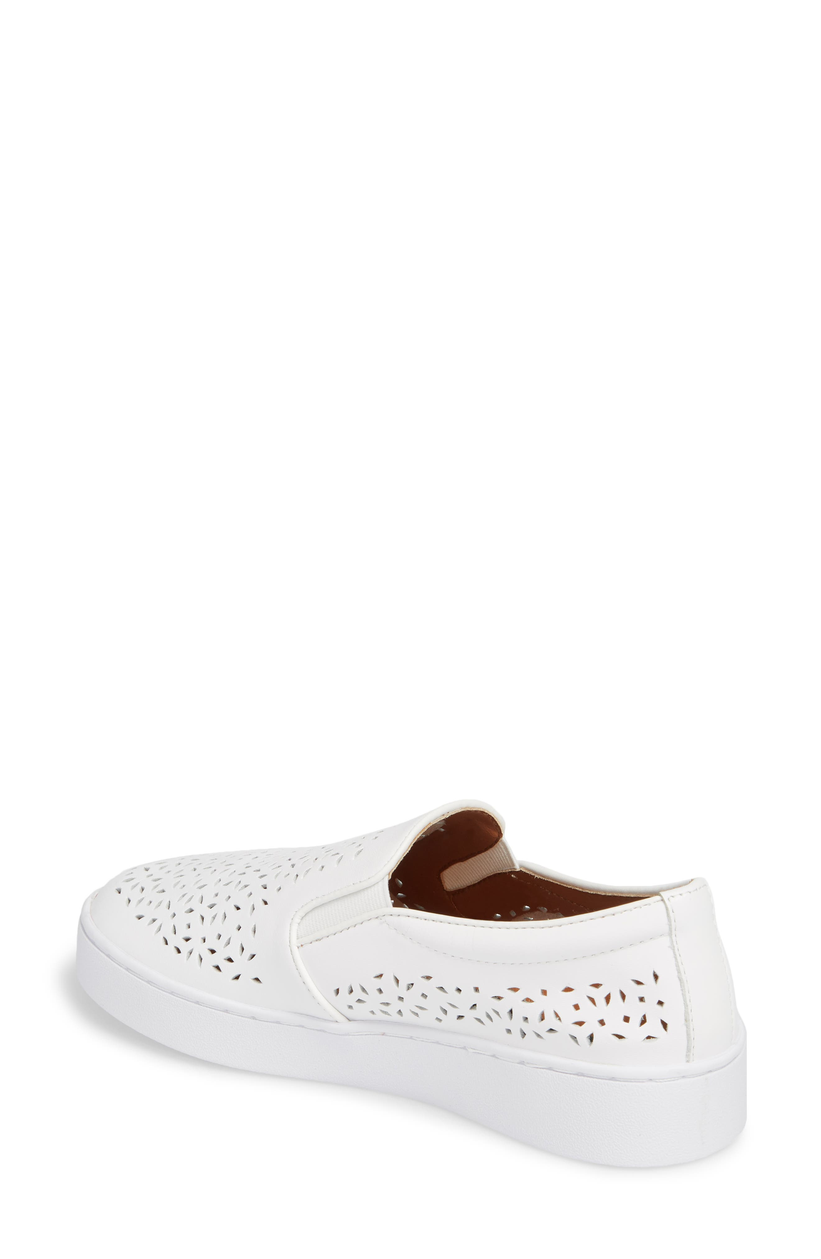 Perforated Slip-On Sneaker,                             Alternate thumbnail 2, color,                             WHITE LEATHER