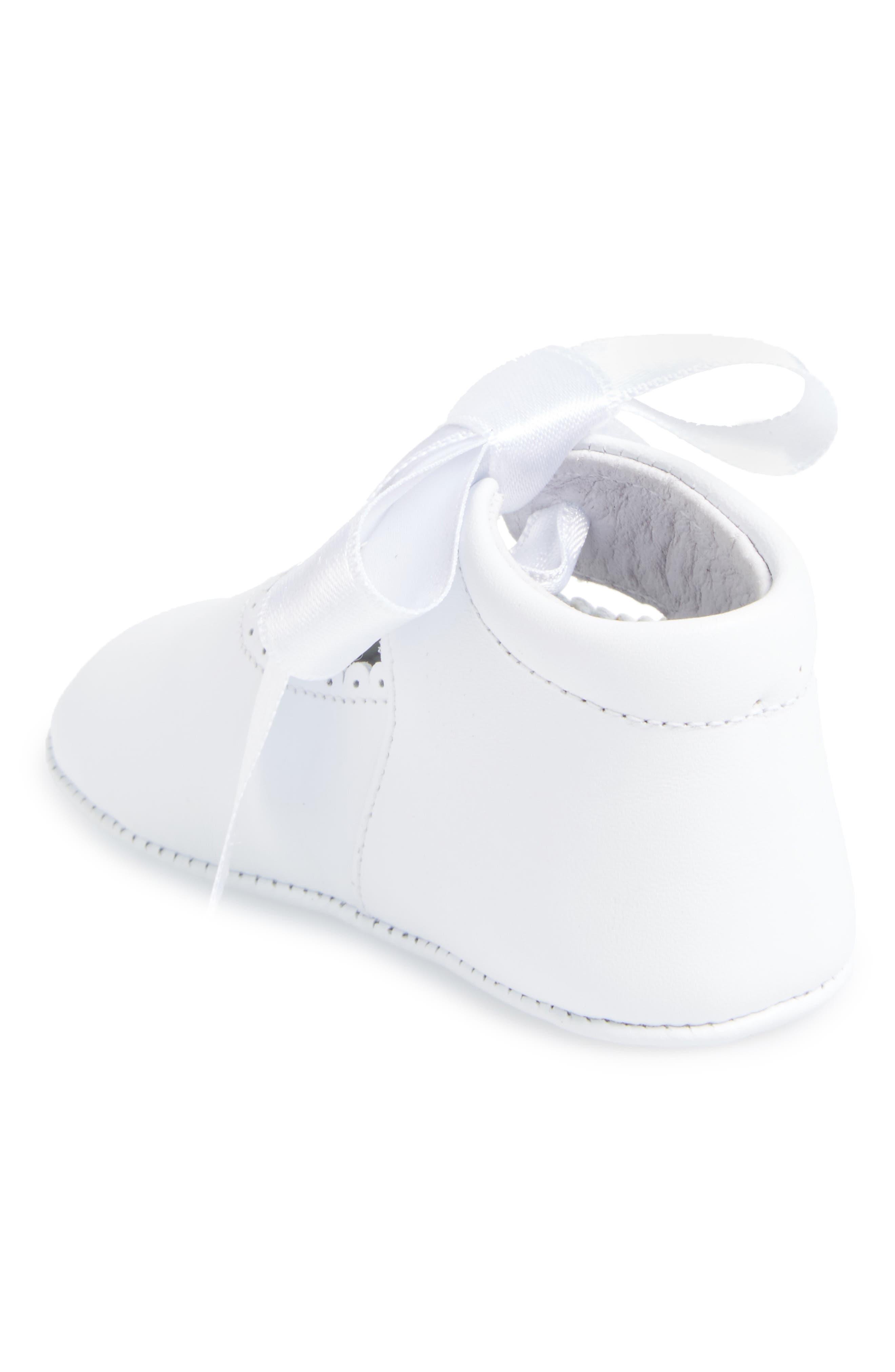 Satin Bow Crib Shoe,                             Alternate thumbnail 2, color,                             WHITE