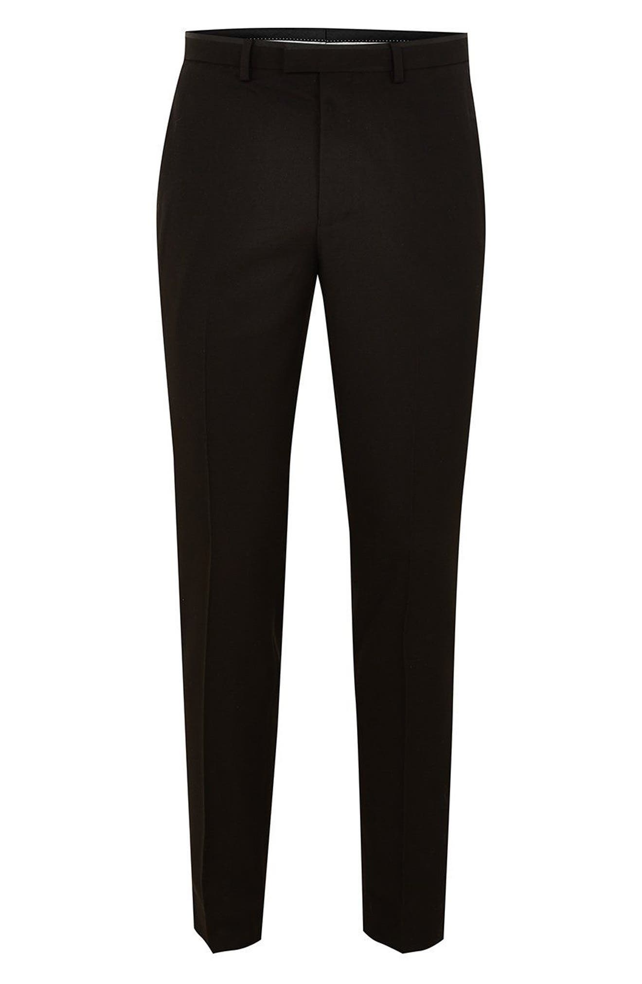 Satin Stripe Skinny Fit Suit Trousers,                             Alternate thumbnail 4, color,                             001