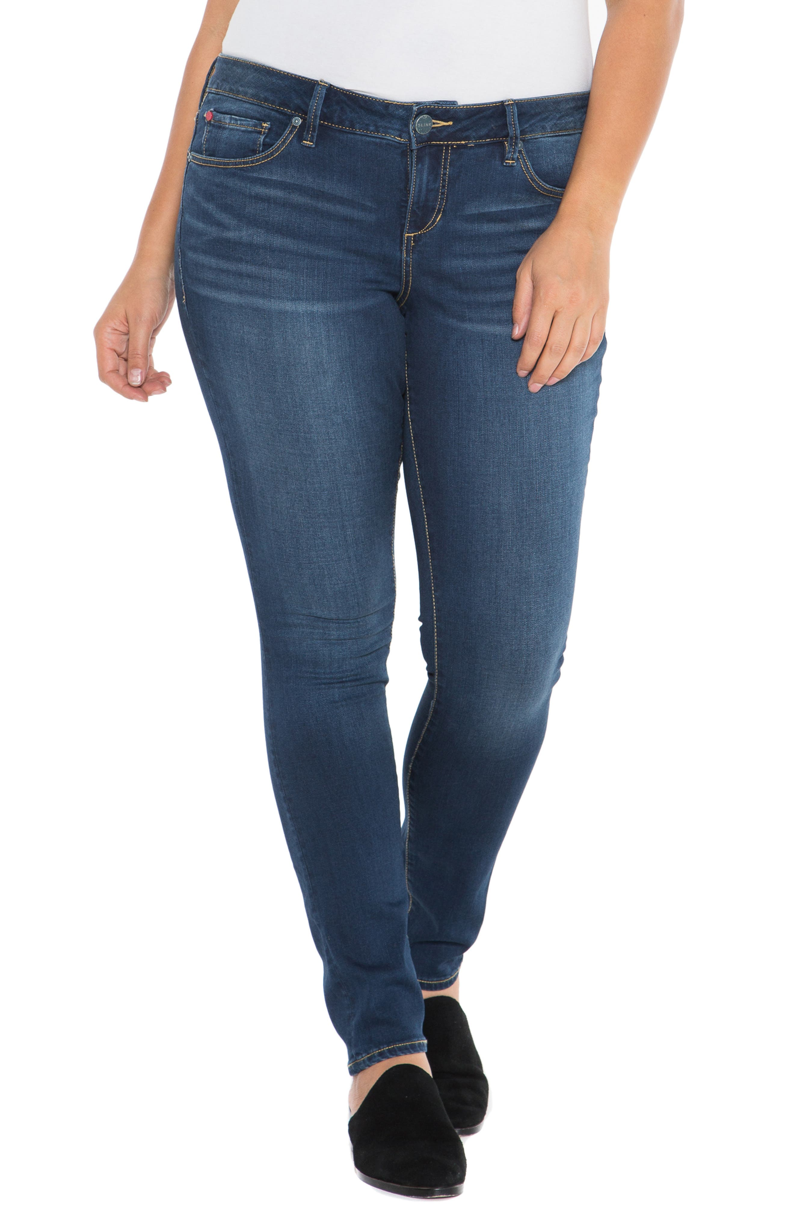 'The Skinny' Stretch Denim Jeans,                             Alternate thumbnail 6, color,                             AMBER