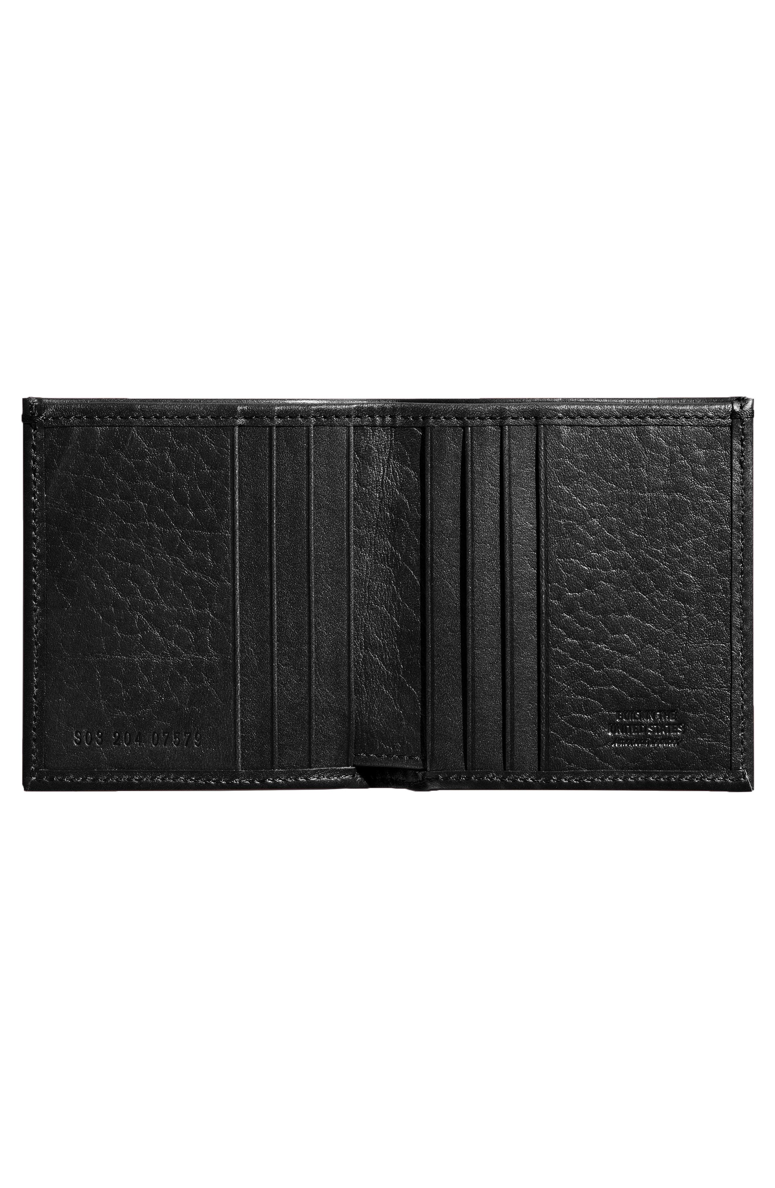Square Bifold Leather Wallet,                             Alternate thumbnail 3, color,                             001