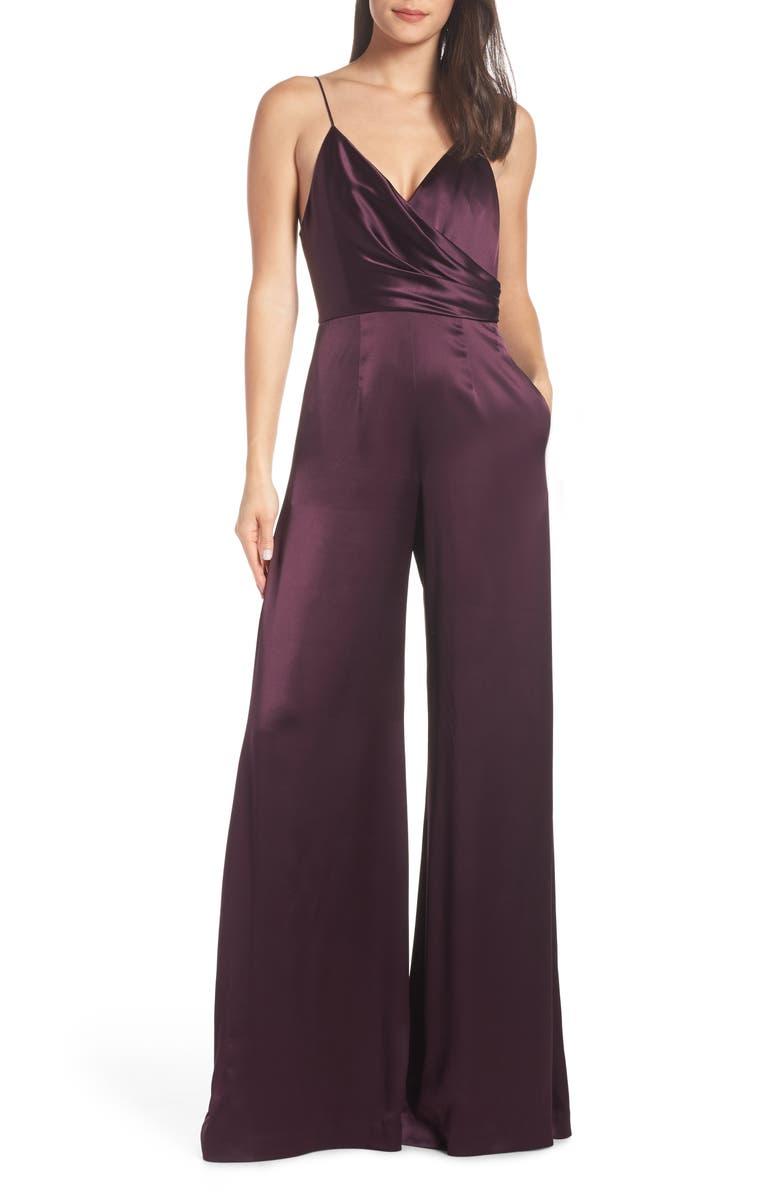 Jill Jill Stuart Wrap Look Satin Jumpsuit In Port Modesens