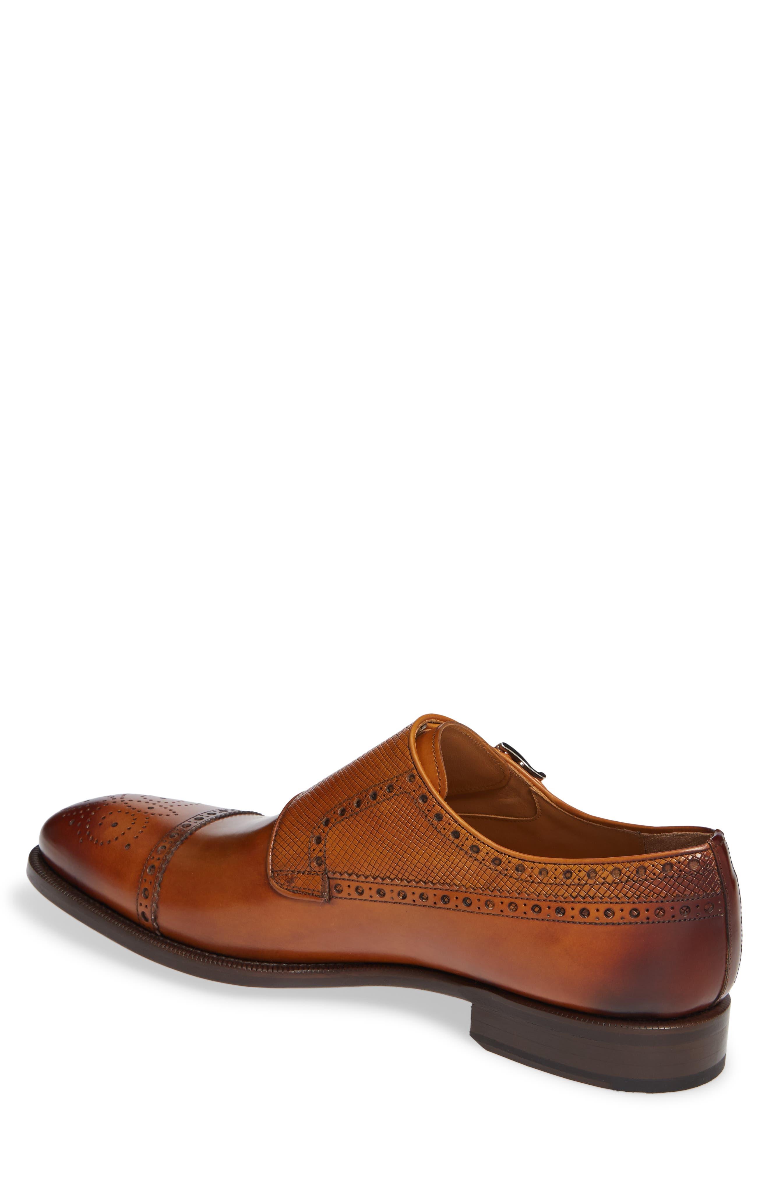 Valda Double Strap Cap Toe Monk Shoe,                             Alternate thumbnail 2, color,                             BROWN LEATHER