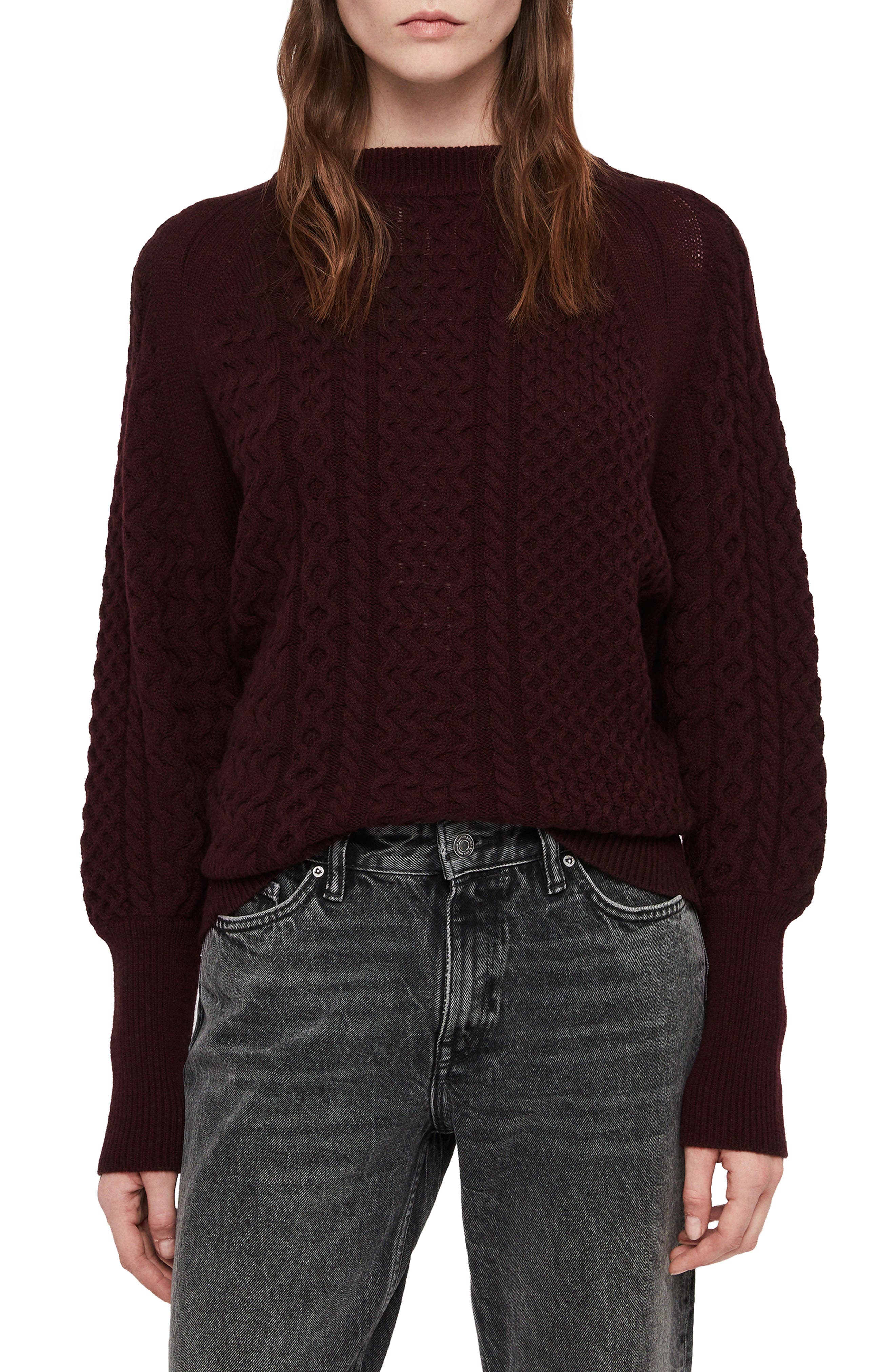 ALLSAINTS Dilone Mixed Knit Sweater in Burgundy Red