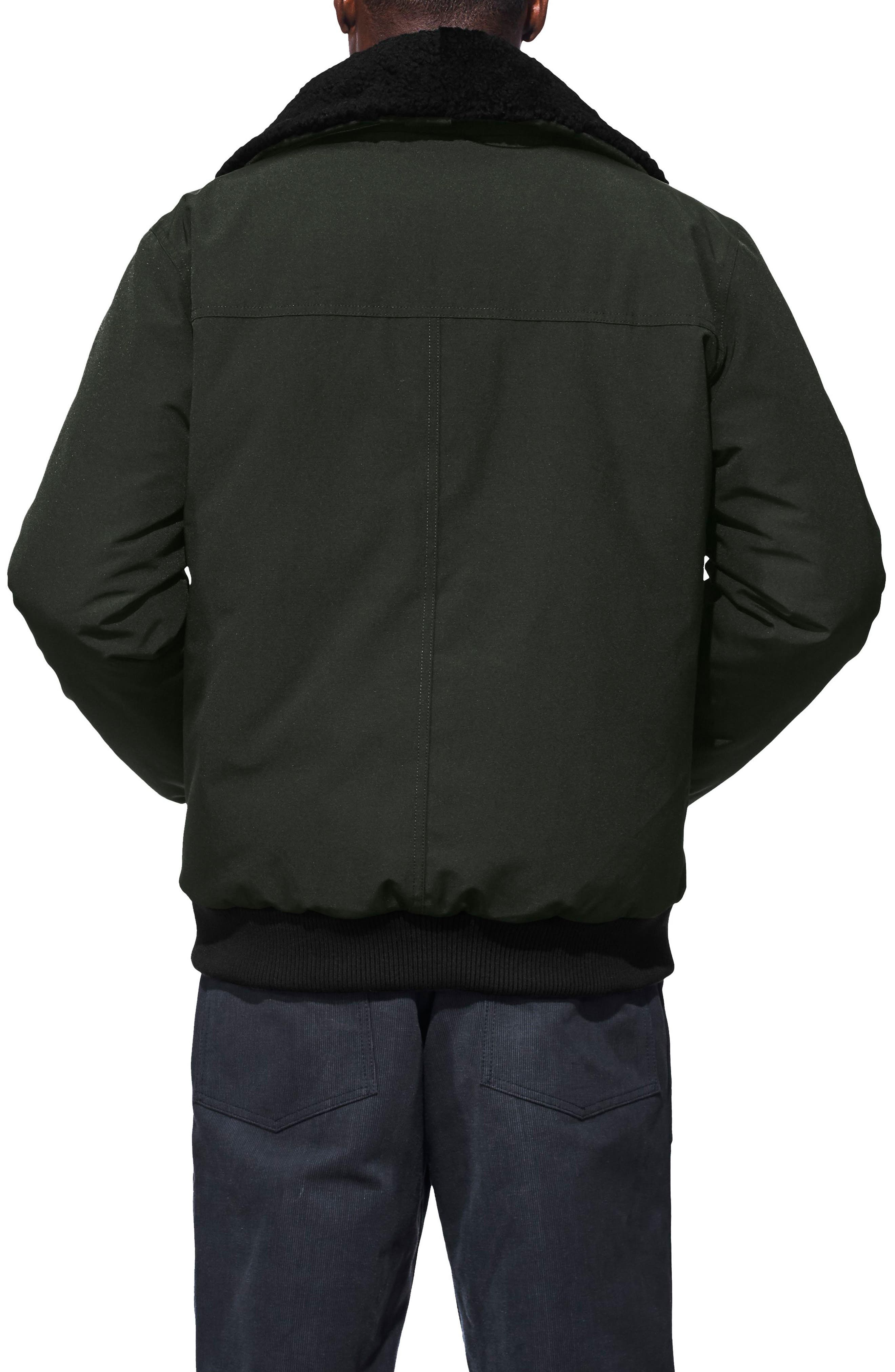 CANADA GOOSE,                             Bromley Slim Fit Down Bomber Jacket with Genuine Shearling Collar,                             Alternate thumbnail 2, color,                             VOLCANO