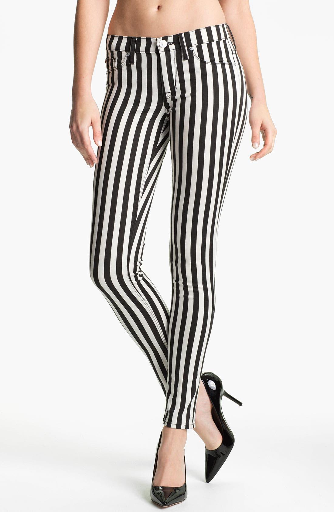 'Krista' Stripe Super Skinny Jeans, Main, color, 001