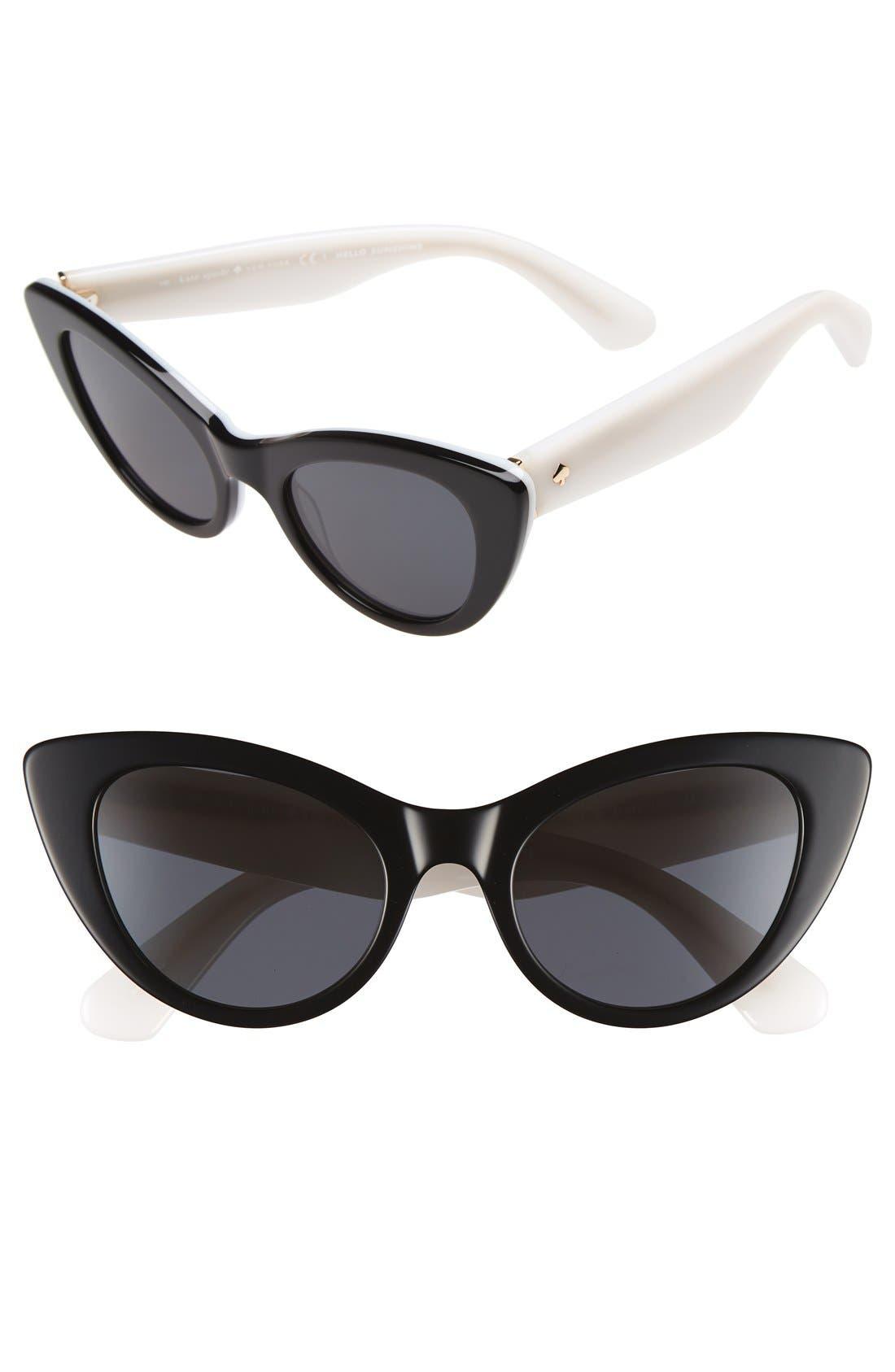 'deandra' 50mm cat eye sunglasses,                             Main thumbnail 1, color,                             001