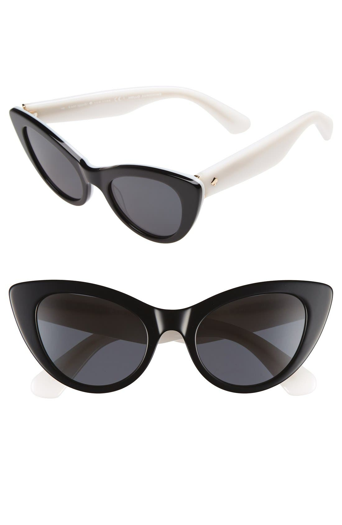 'deandra' 50mm cat eye sunglasses,                         Main,                         color, 001