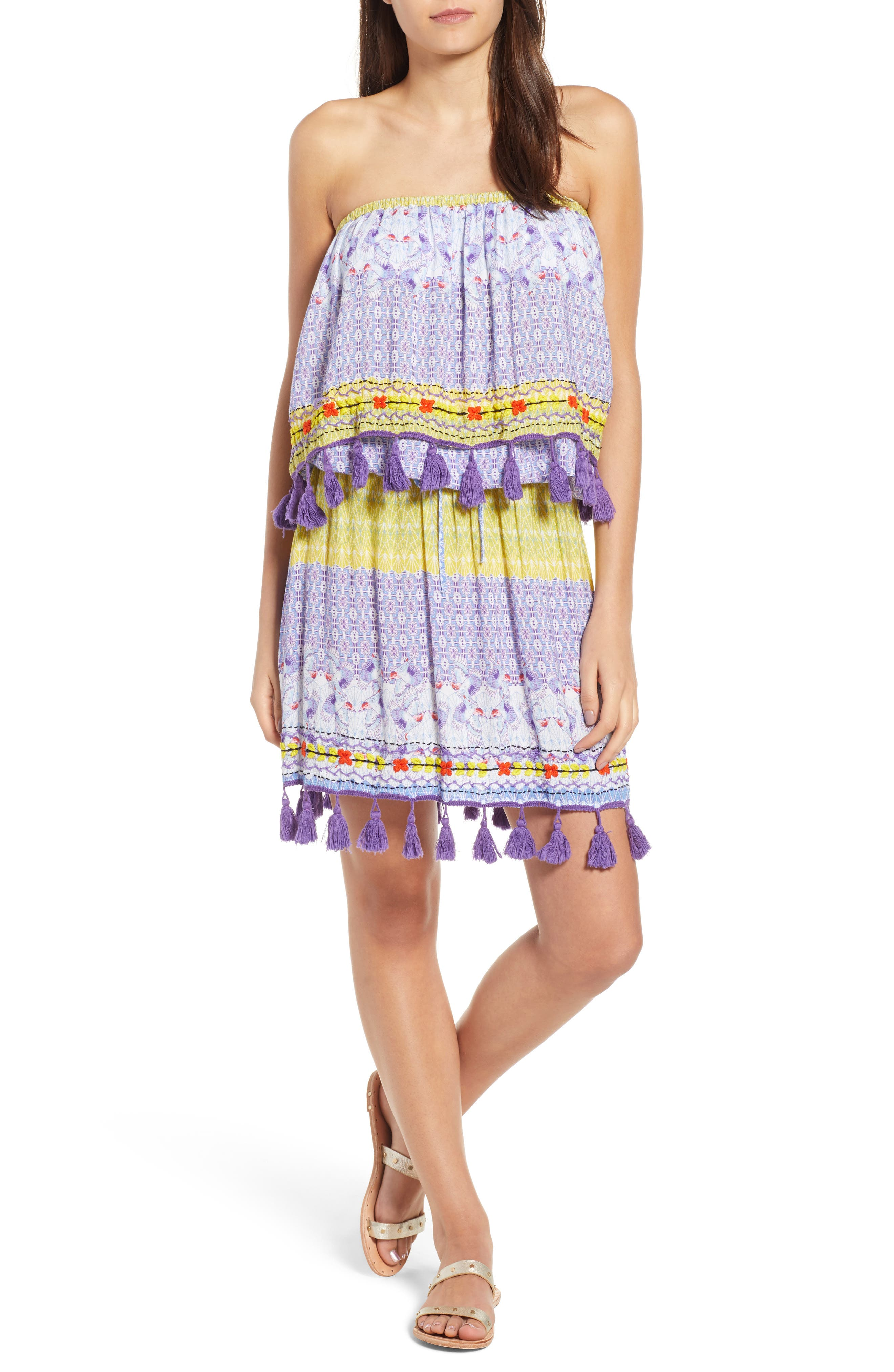 Tropic Bird Tassel Trim Skirt,                             Alternate thumbnail 7, color,                             500