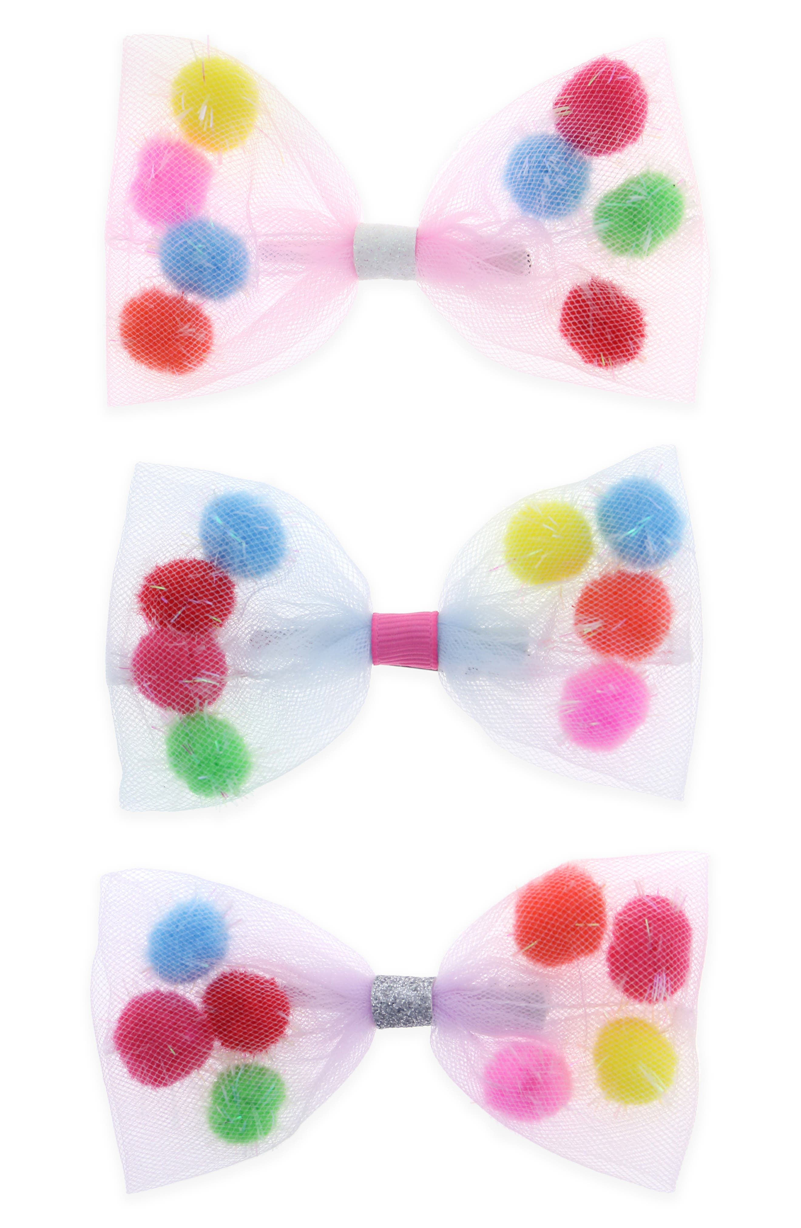 3-Pack Bow Hair Clips,                             Main thumbnail 1, color,                             651