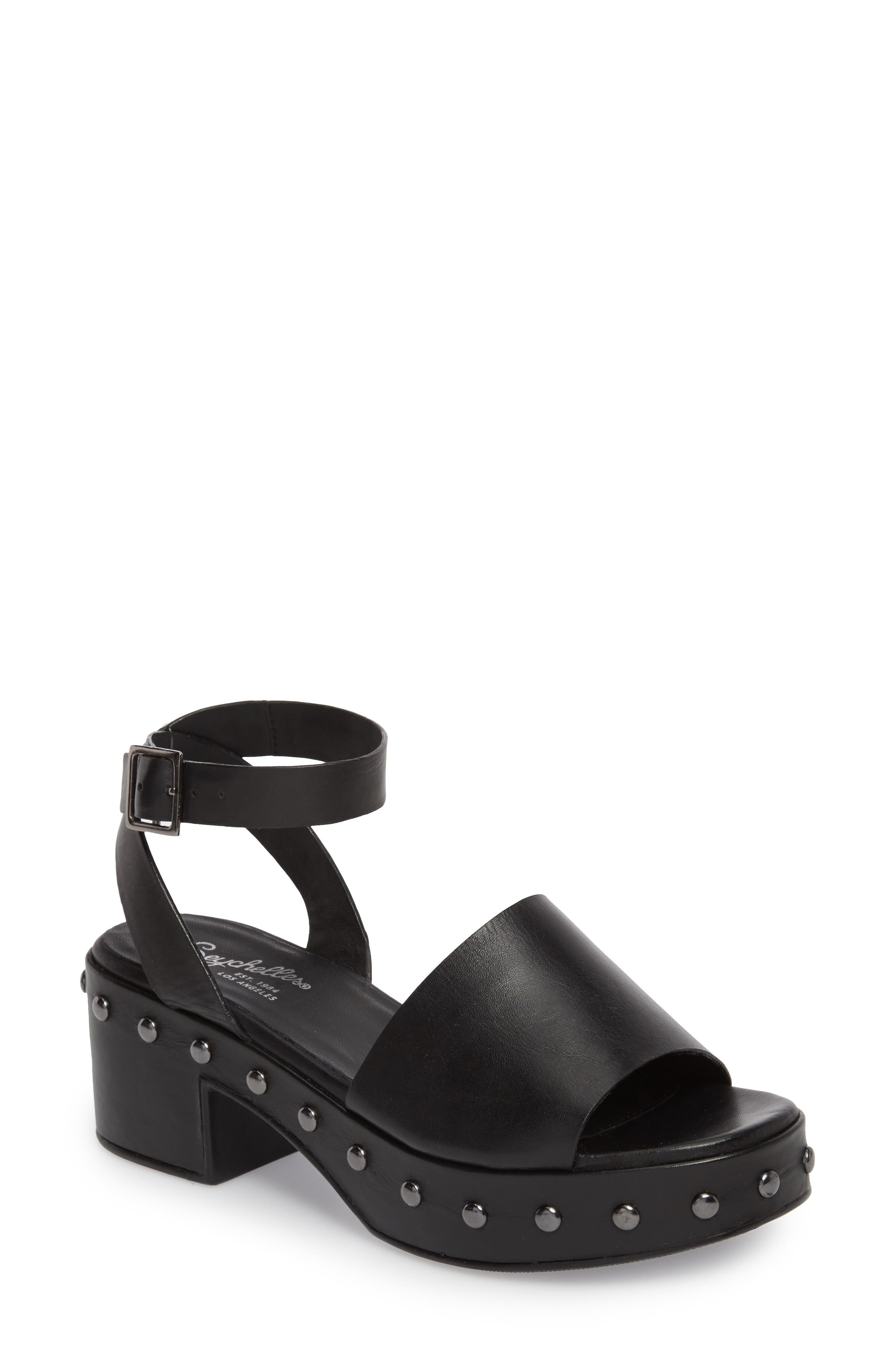 Spare Moments Sandal,                         Main,                         color, BLACK LEATHER