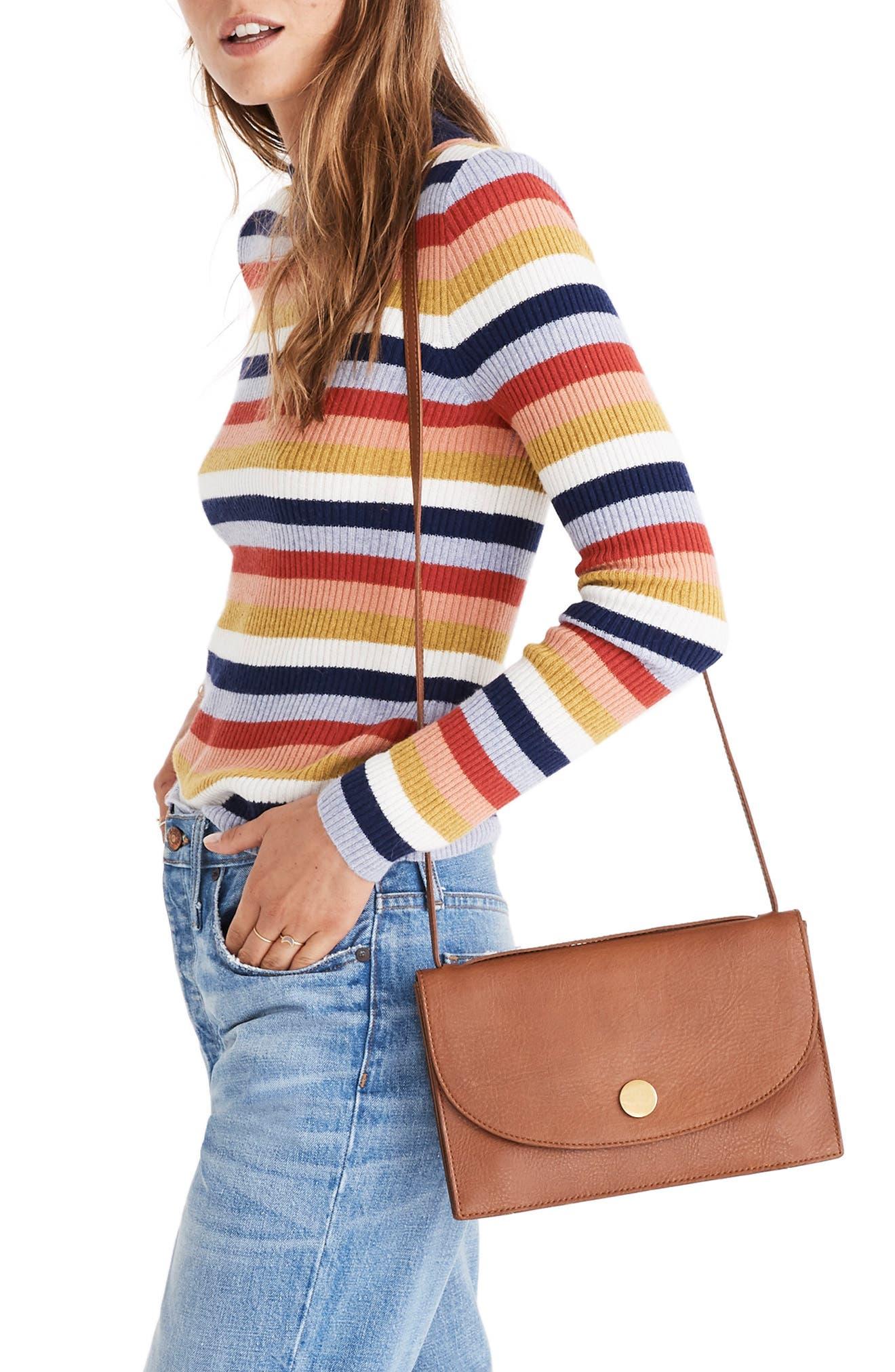 Stripe Mock Neck Pullover Sweater,                             Alternate thumbnail 3, color,                             BLUE NIGHT