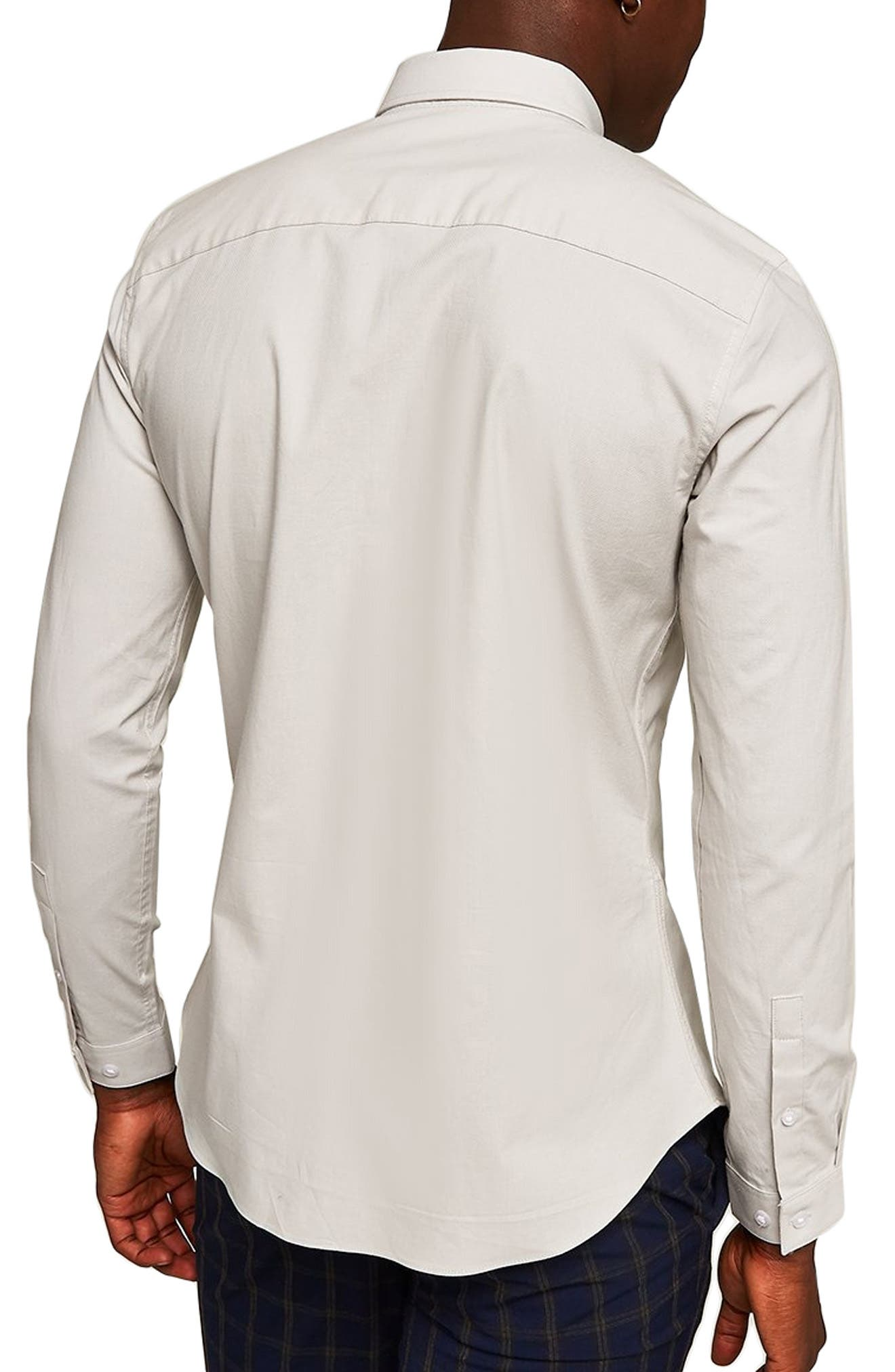 Muscle Fit Textured Shirt,                             Alternate thumbnail 3, color,                             GREY