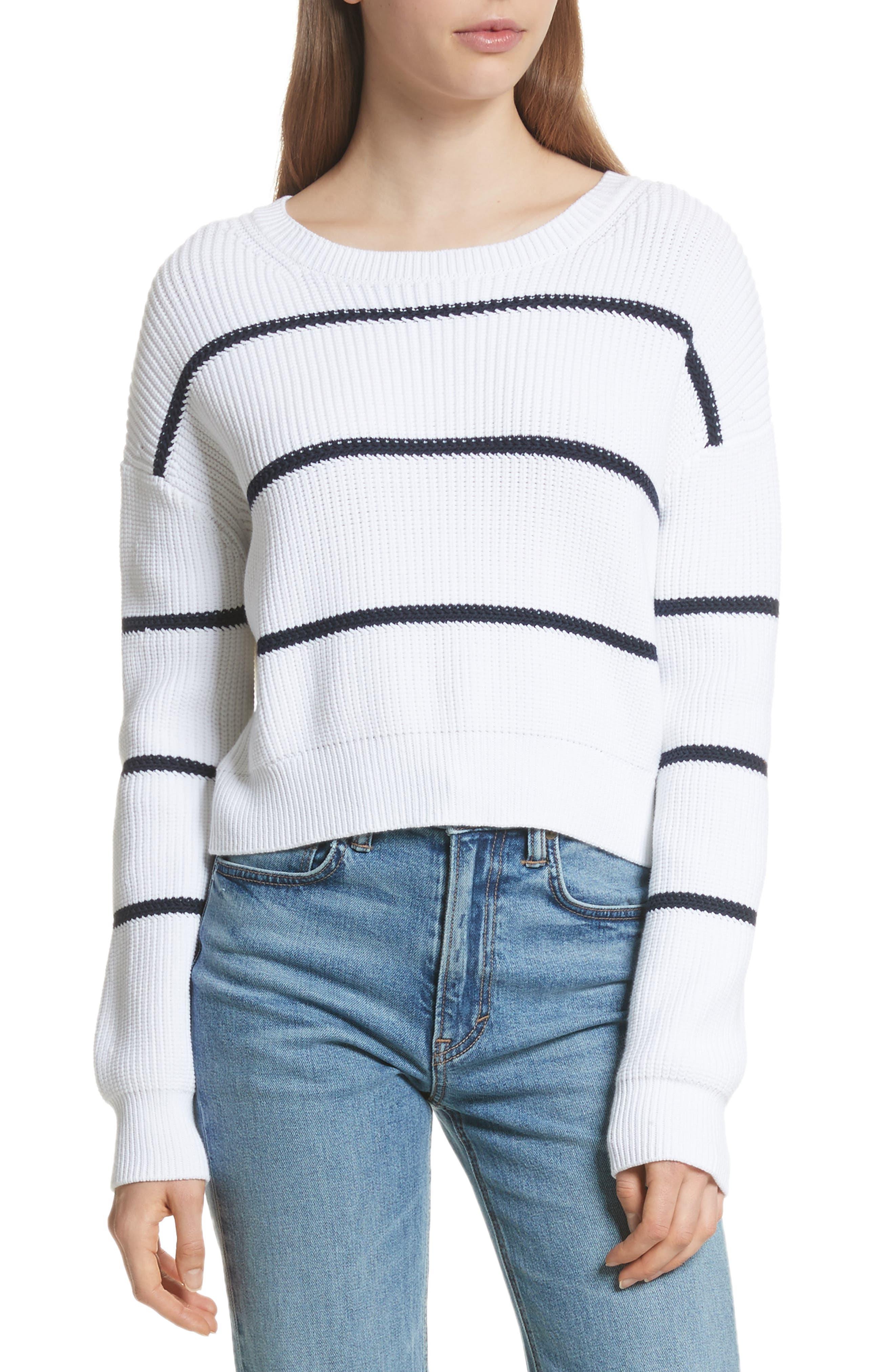 Cotton Blend Rib Knit Stripe Sweater,                             Main thumbnail 1, color,