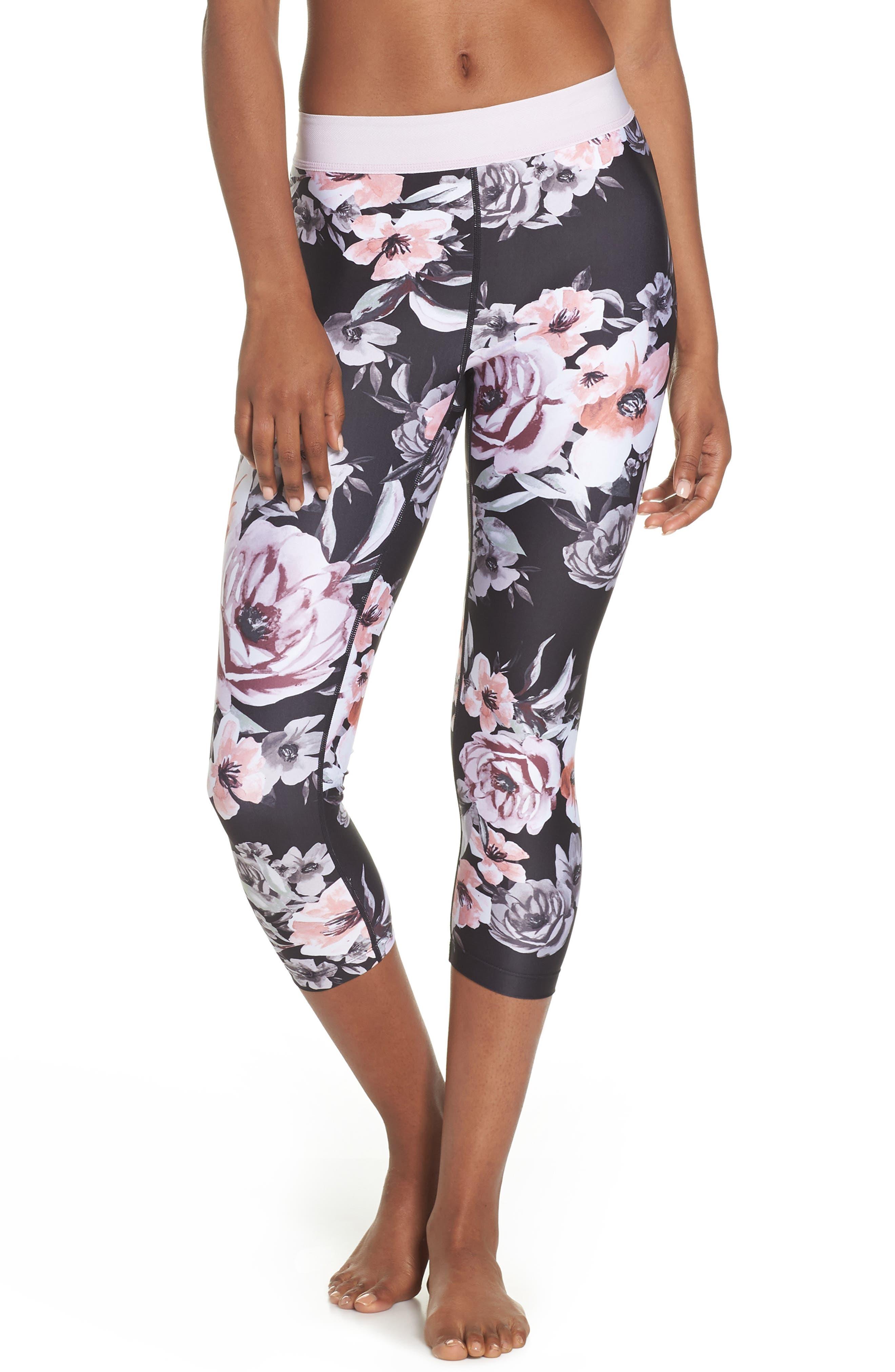 Vera Print Crop Leggings,                         Main,                         color, BLACK CLASSIC FLORAL PRINT