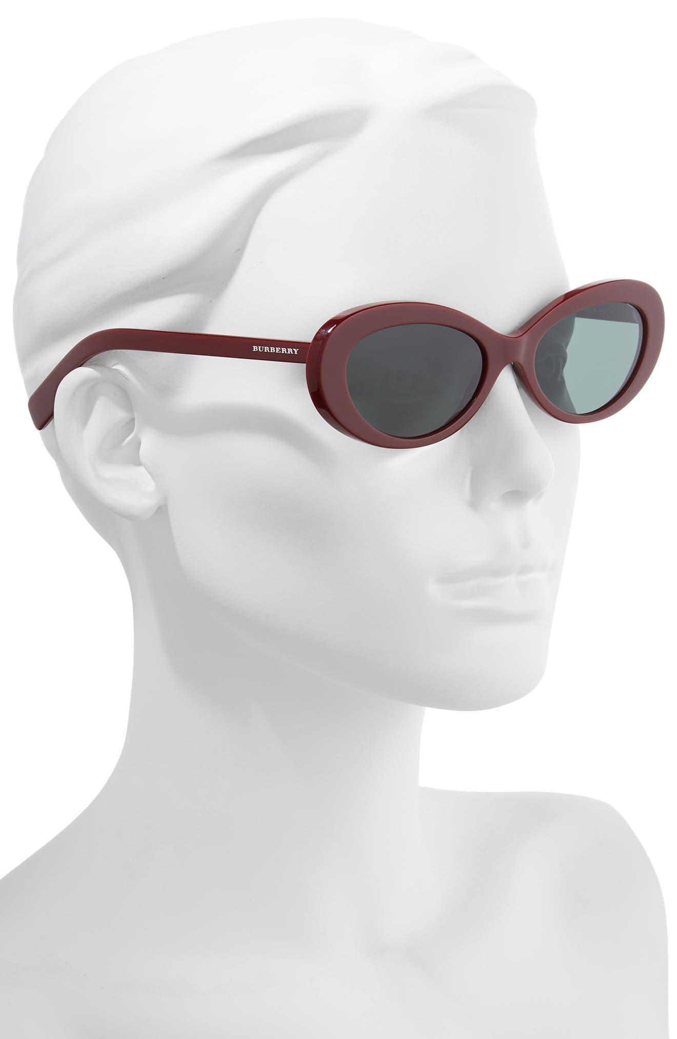 54mm Oval Sunglasses,                             Alternate thumbnail 2, color,                             BORDEAUX SOLID