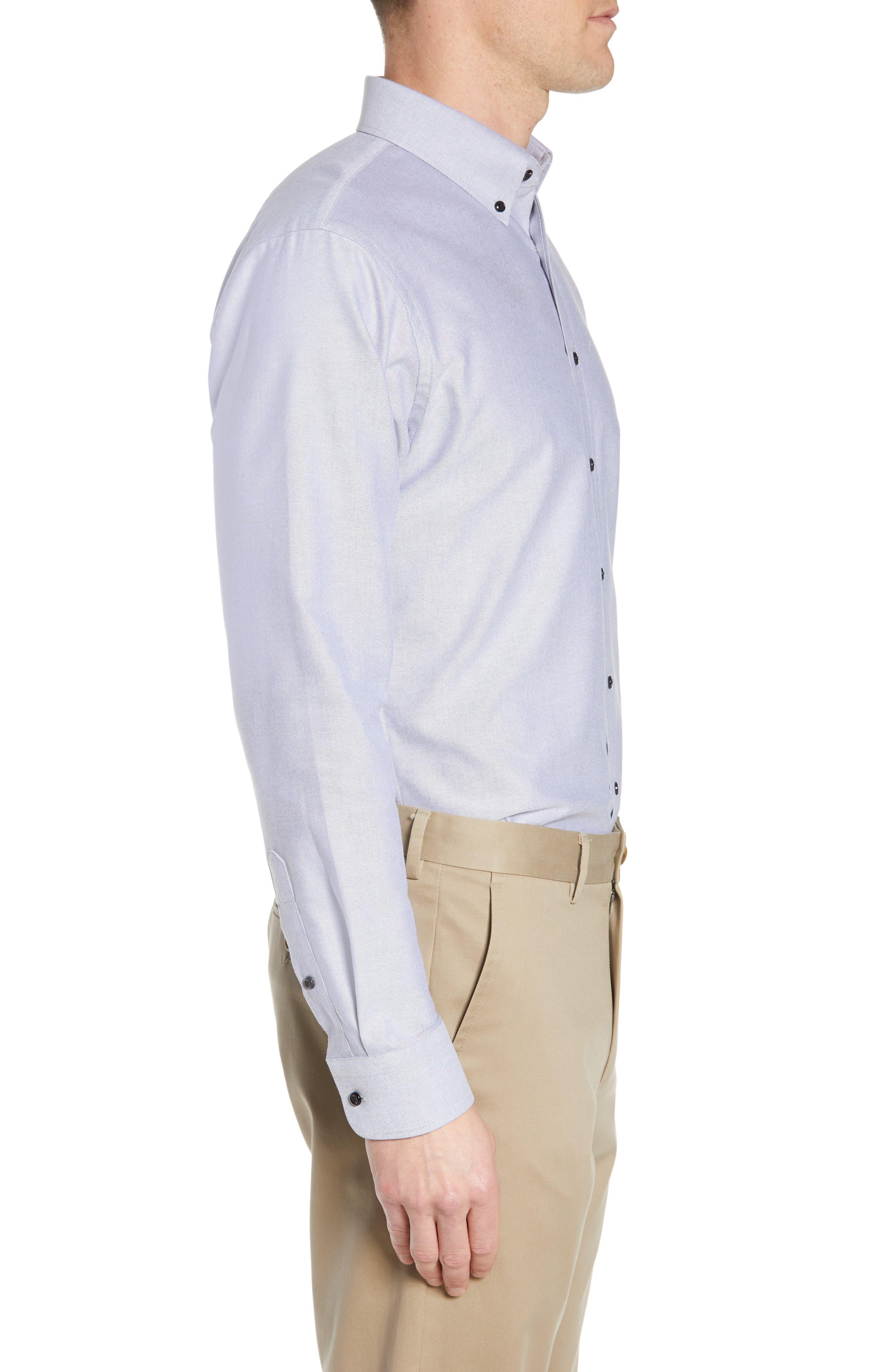 Trim Fit Oxford Dress Shirt,                             Alternate thumbnail 4, color,                             GREY FEATHER