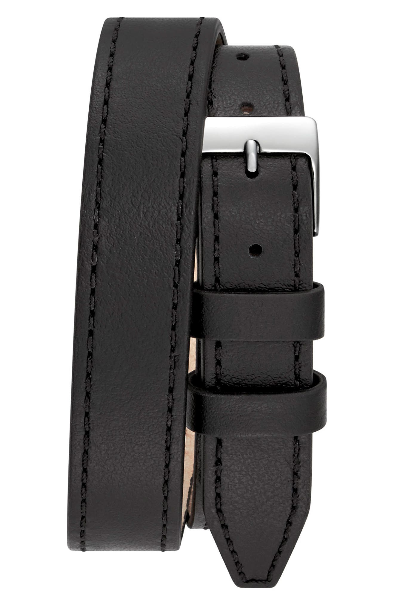 Moment Wrap Leather Strap Watch, 19mm x 30mm,                             Alternate thumbnail 2, color,                             001