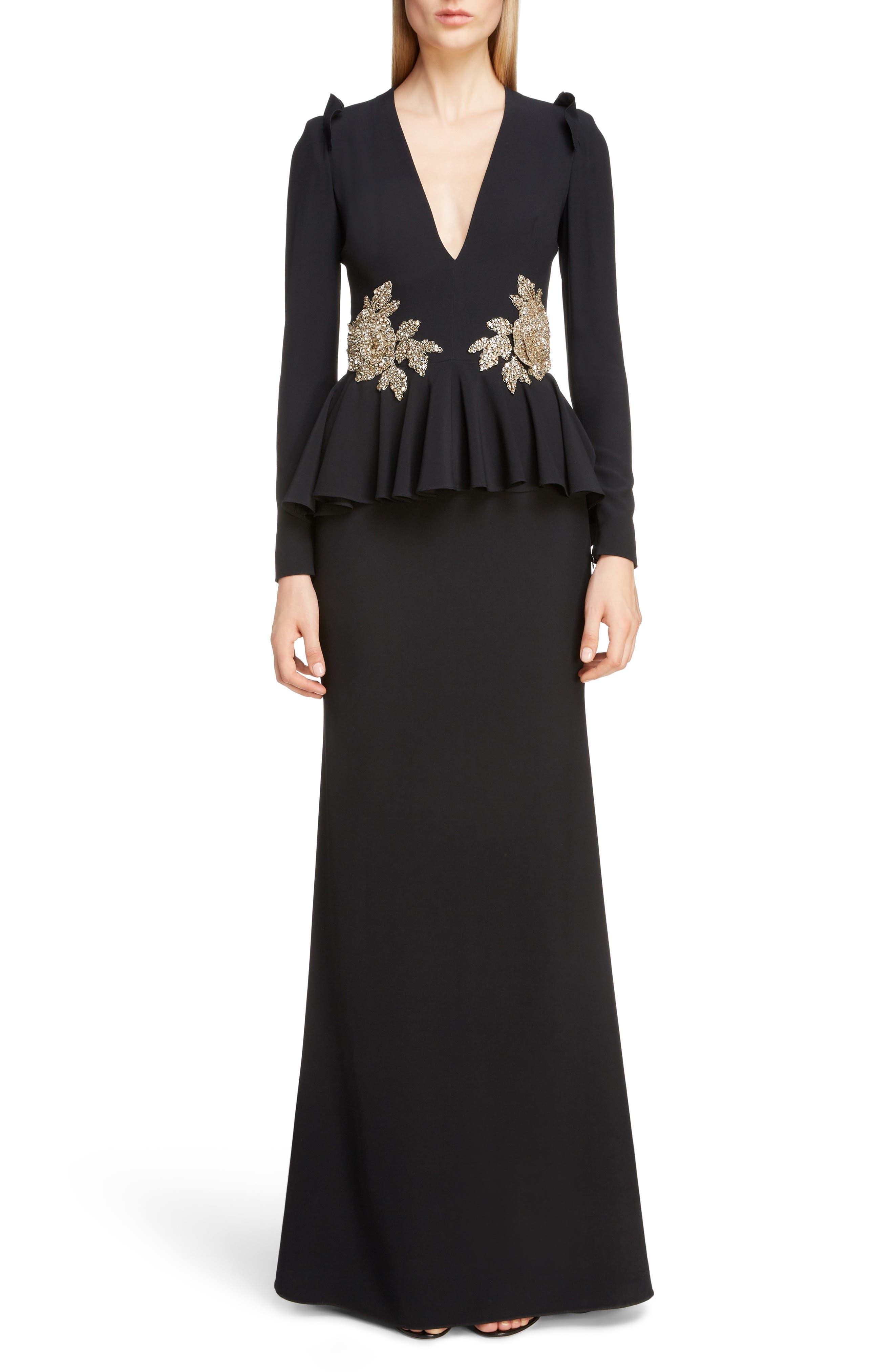 Alexander Mcqueen Embellished Peplum Waist Gown, US / 46 IT - Black
