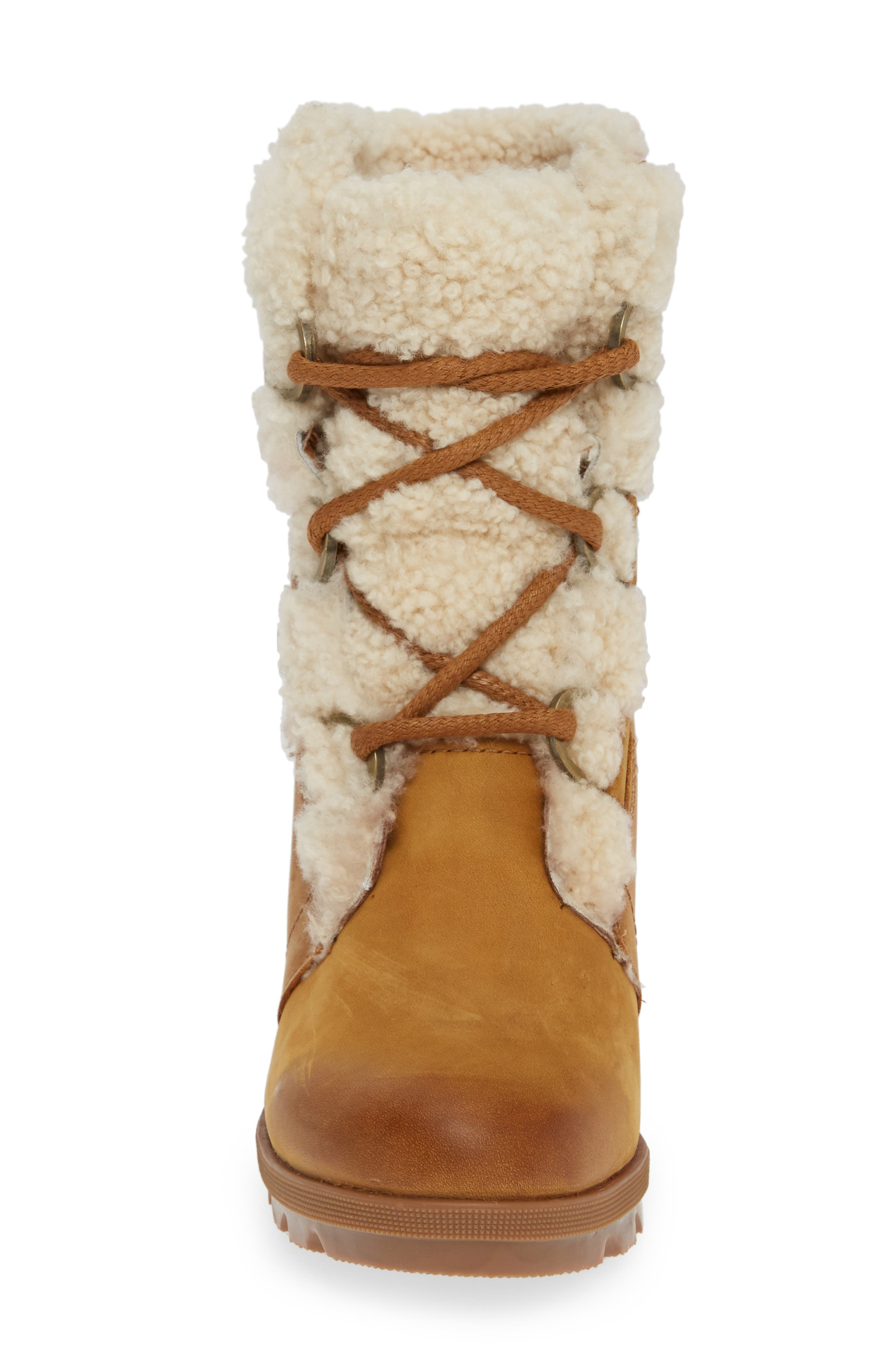 Joan of Arctic Wedge II Genuine Shearling Bootie,                             Alternate thumbnail 4, color,                             CAMEL BROWN