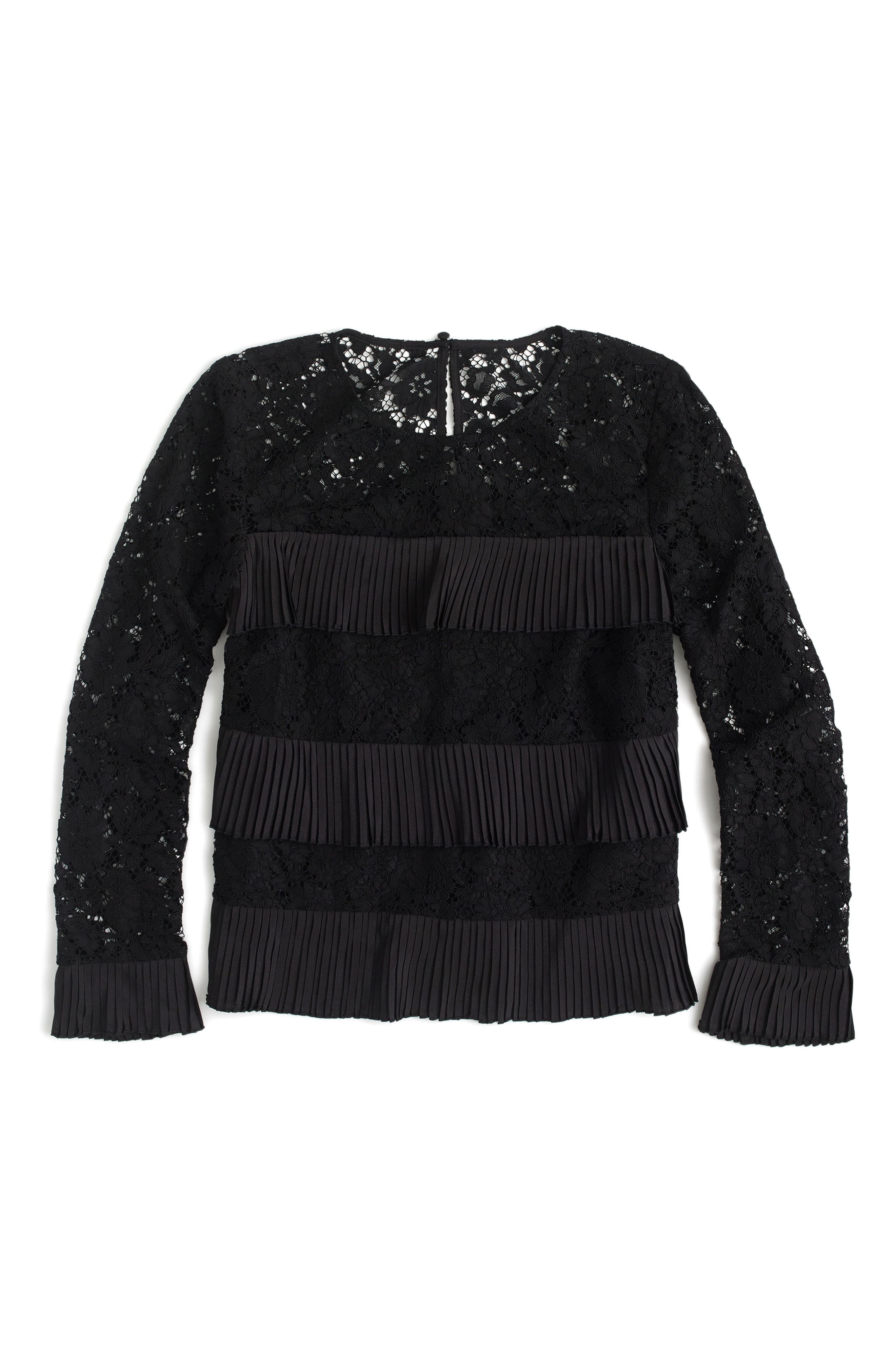 Pleated Lace Top,                             Alternate thumbnail 4, color,                             BLACK
