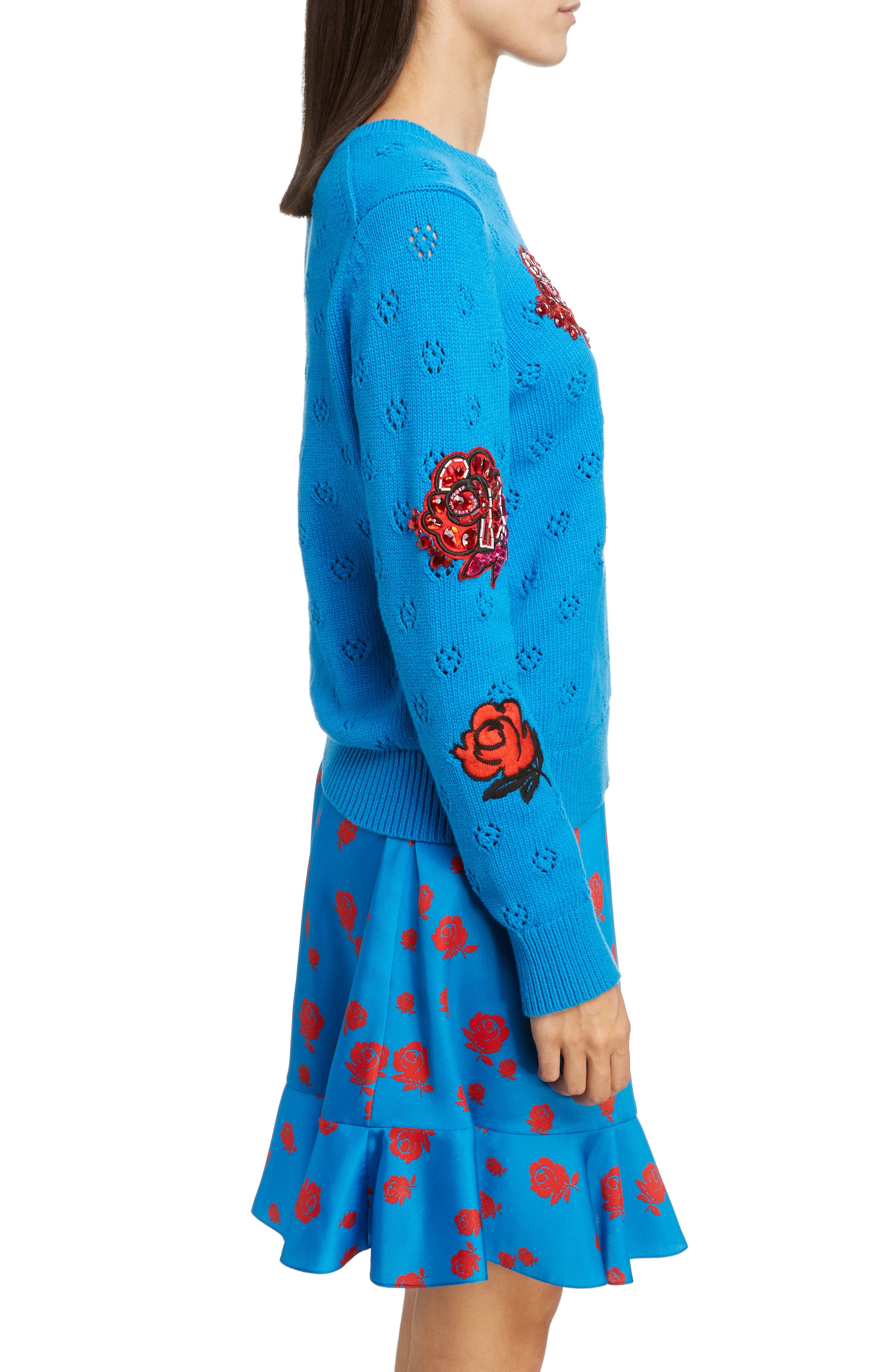 Floral Patch Sweater,                             Alternate thumbnail 3, color,                             FRENCH BLUE
