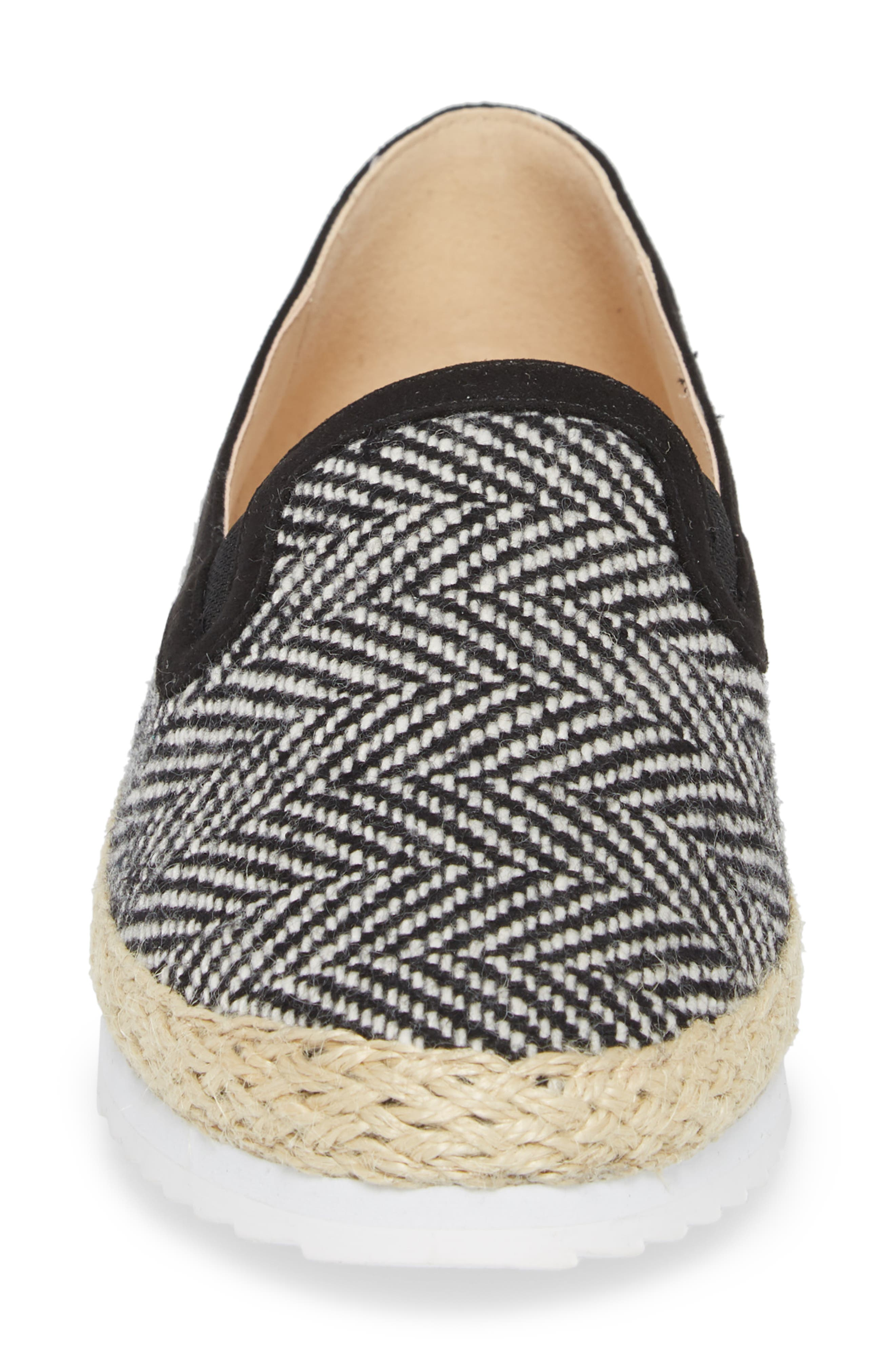 Tight Line Espadrille Flat,                             Alternate thumbnail 4, color,                             BLACK HOUNDSTOOTH FABRIC