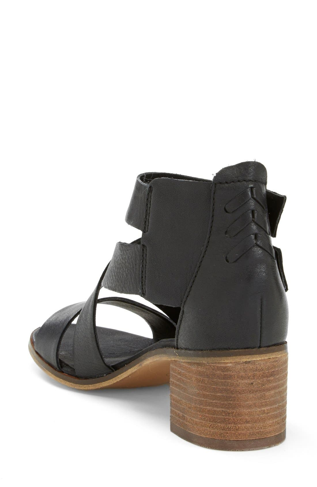 'Rosana' Double Ankle Strap Leather Sandal,                             Alternate thumbnail 3, color,                             001