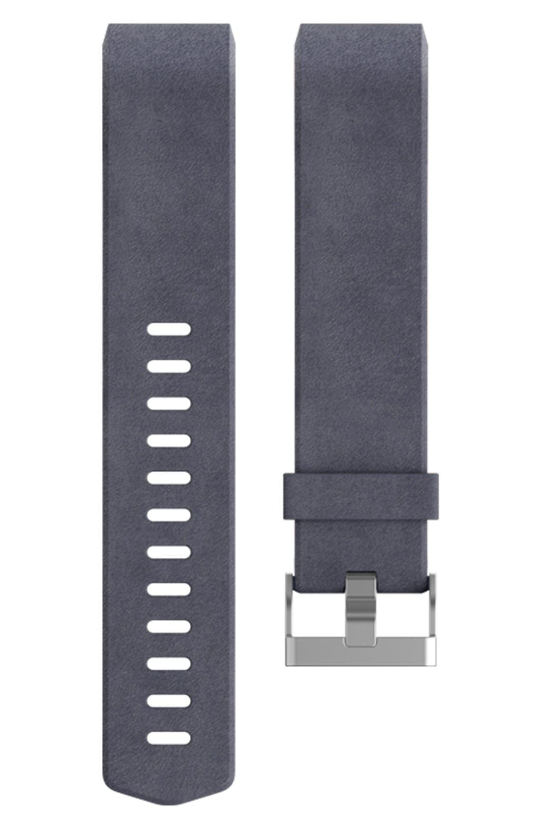 Charge 2 Leather Accessory Band,                             Main thumbnail 1, color,                             NAVY