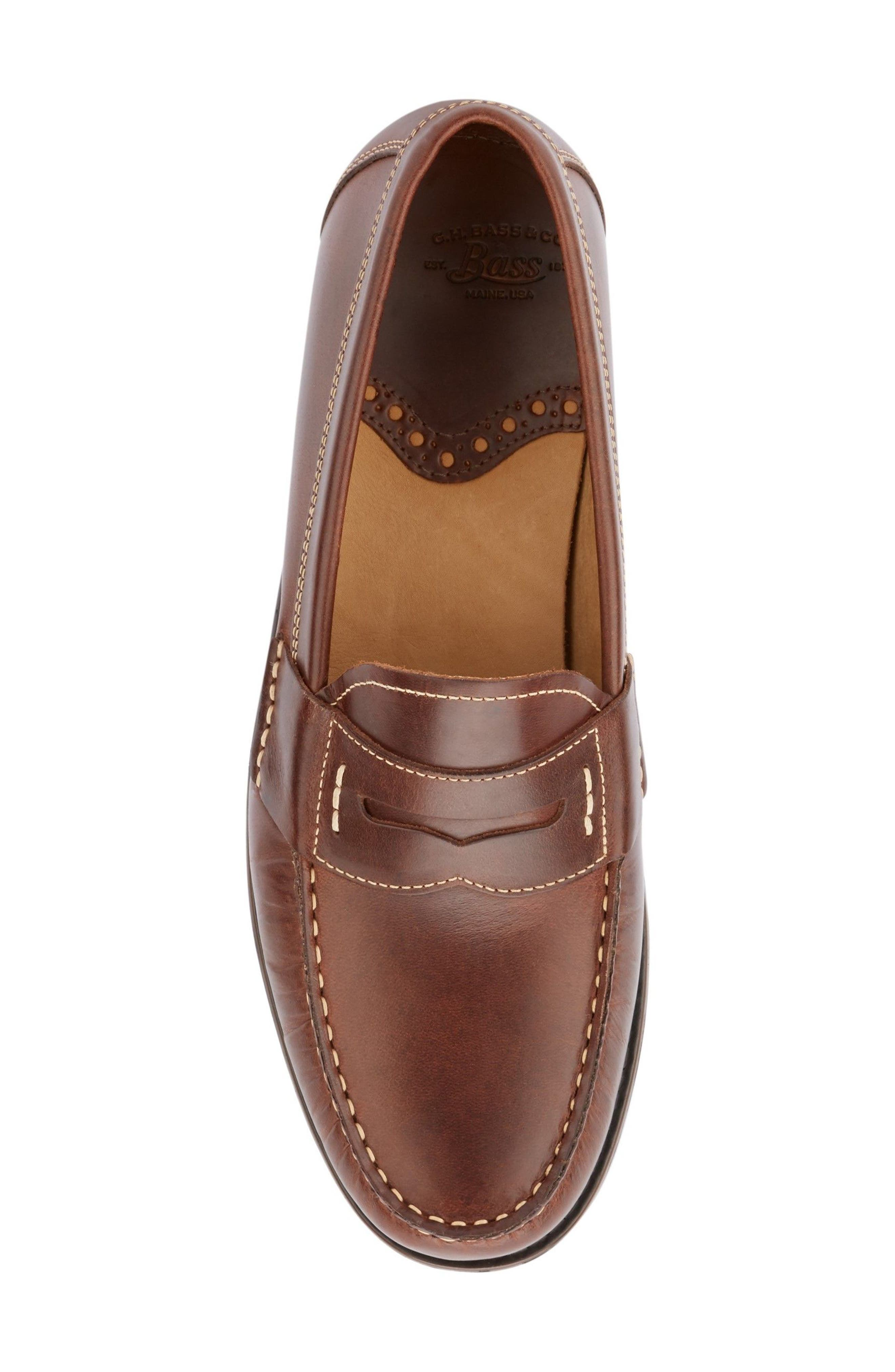 Wagner Penny Loafer,                             Alternate thumbnail 5, color,                             DARK BROWN LEATHER