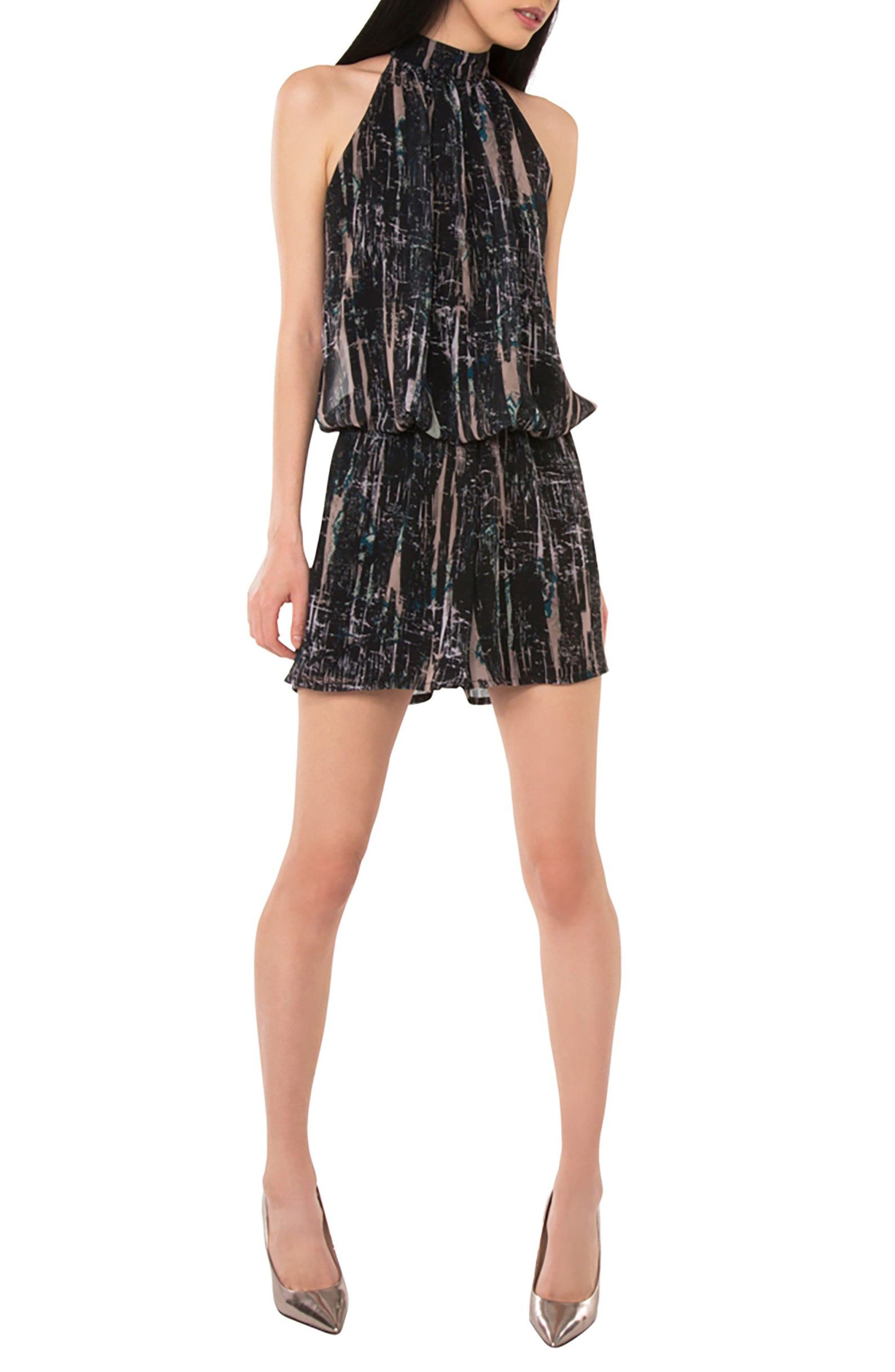 Bow Back Blouson Romper,                         Main,                         color, BLACK SPLATTER